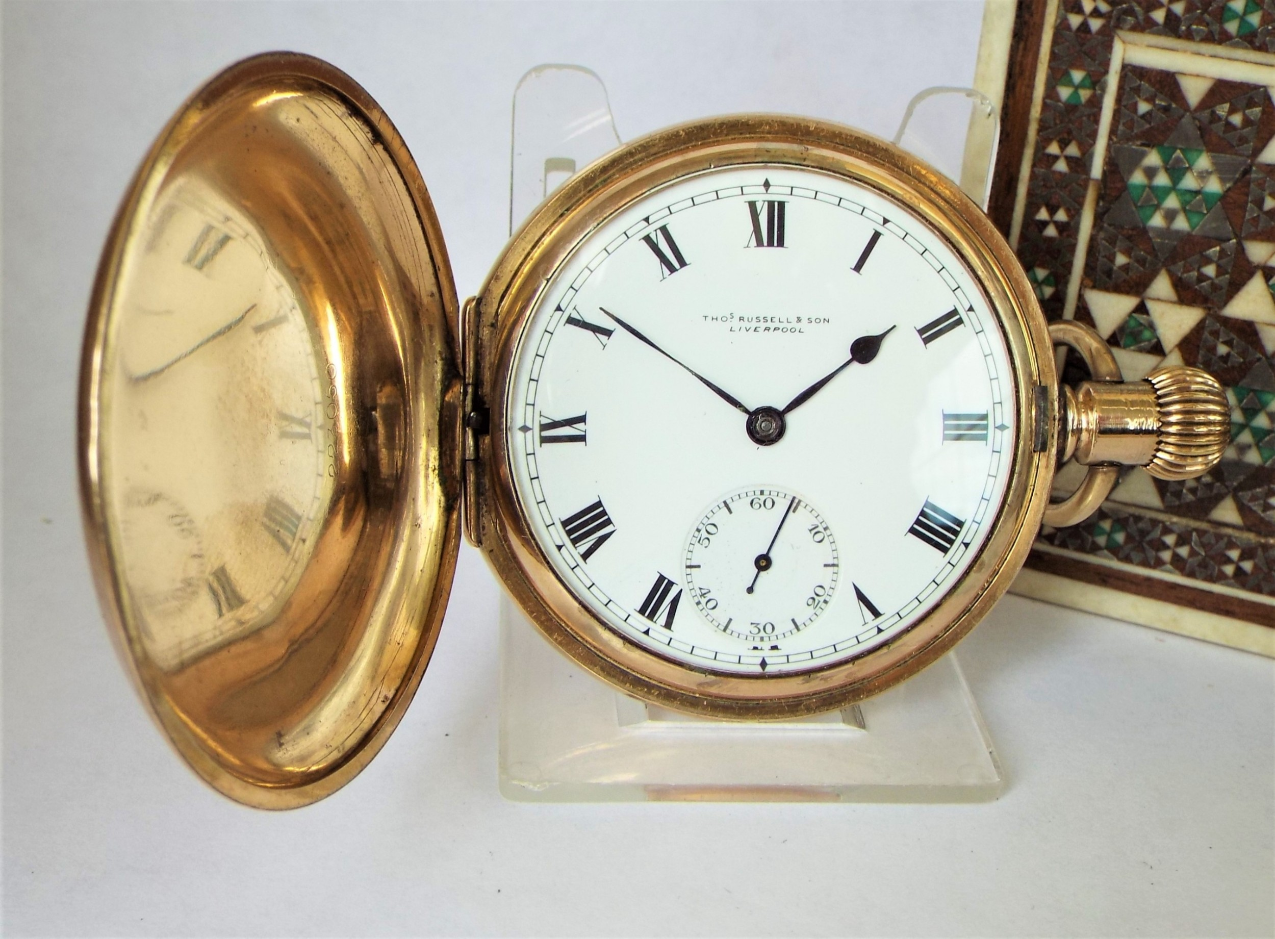 a 1920s thomas russell full hunter pocket watch