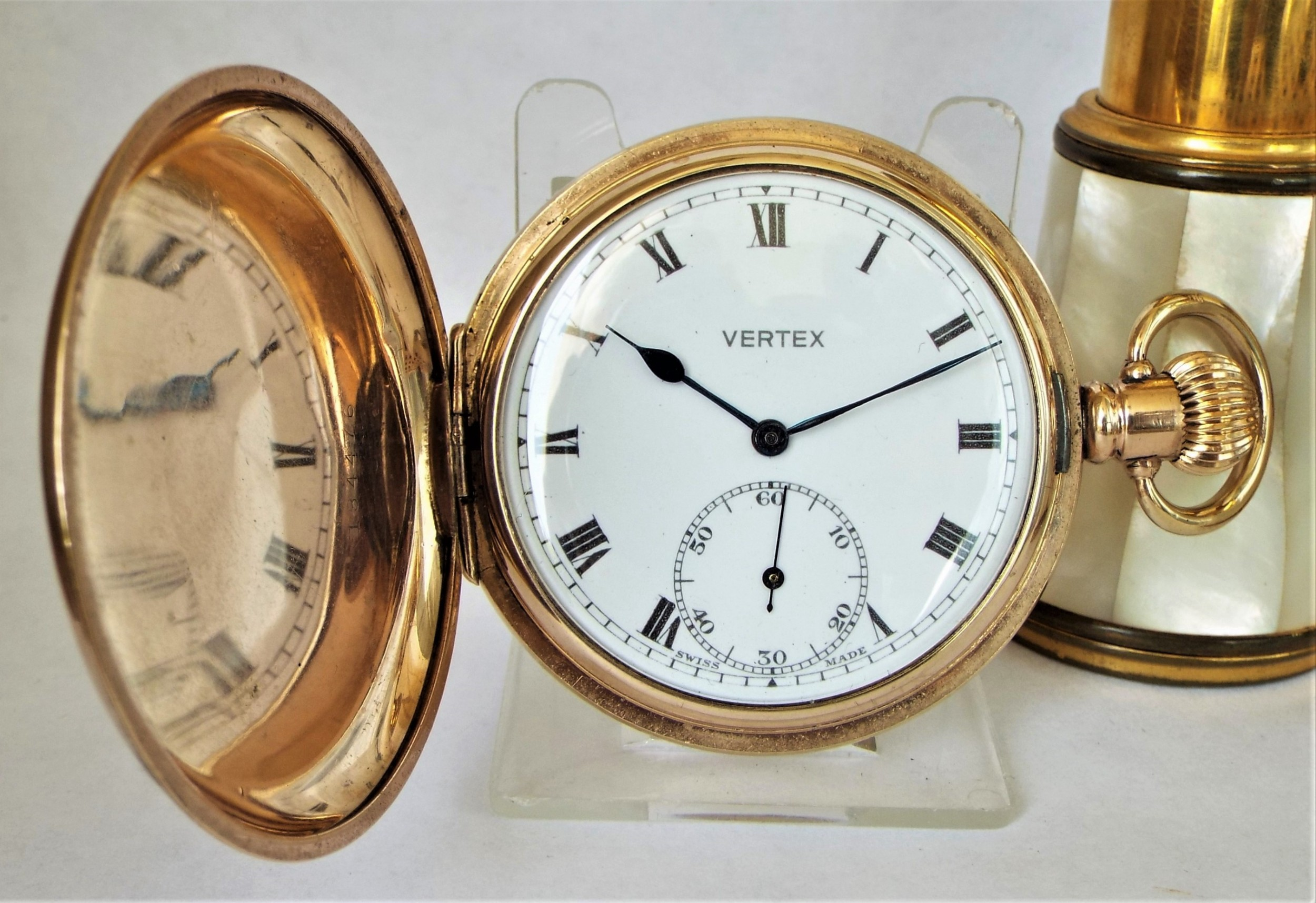 a 1930s vertex full hunter pocket watch