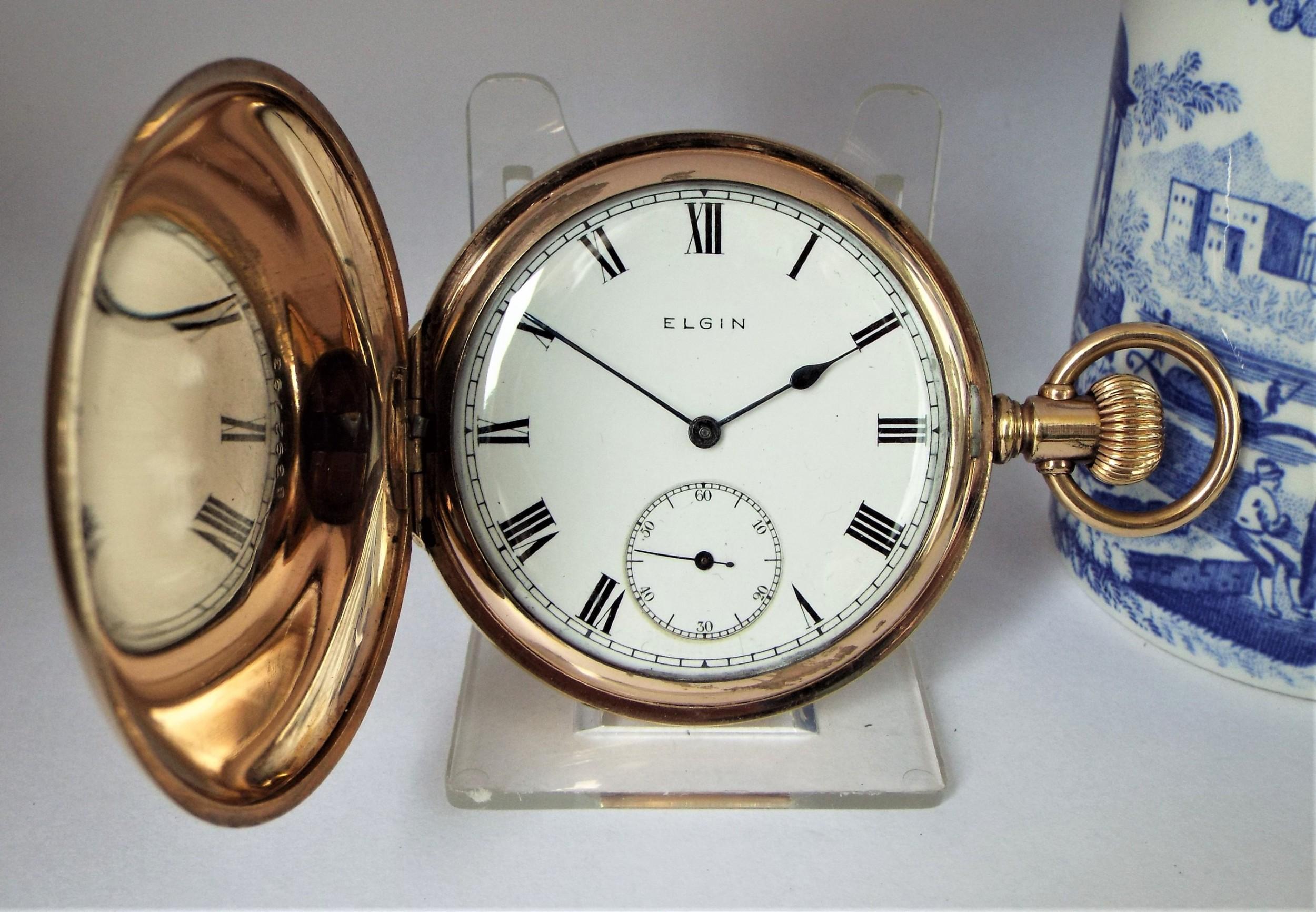 antique 1915 elgin full hunter pocket watch