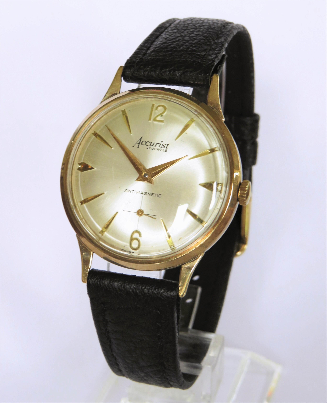 gents 9 carat gold accurist wrist watch 1966