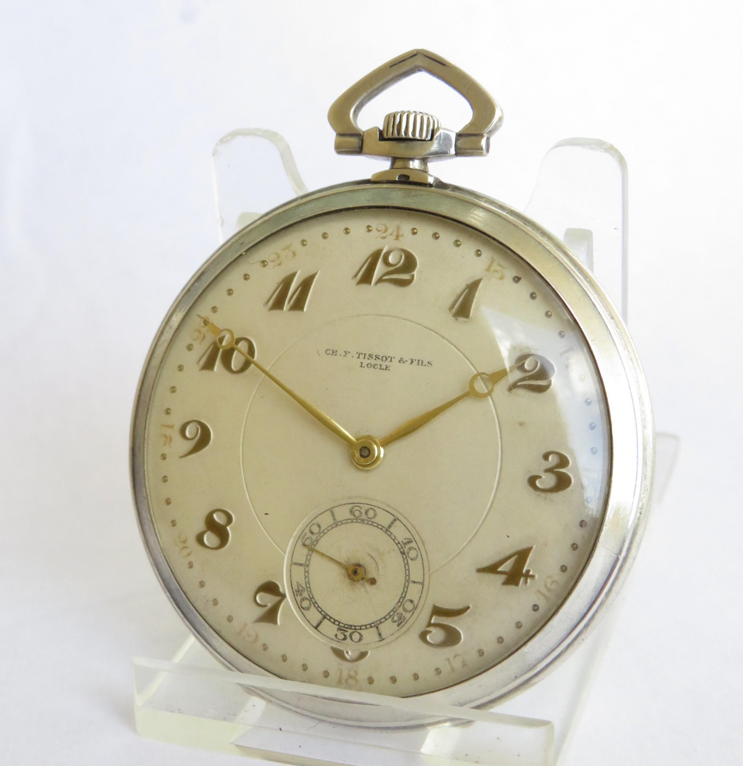 1920s tissot silver pocket watch