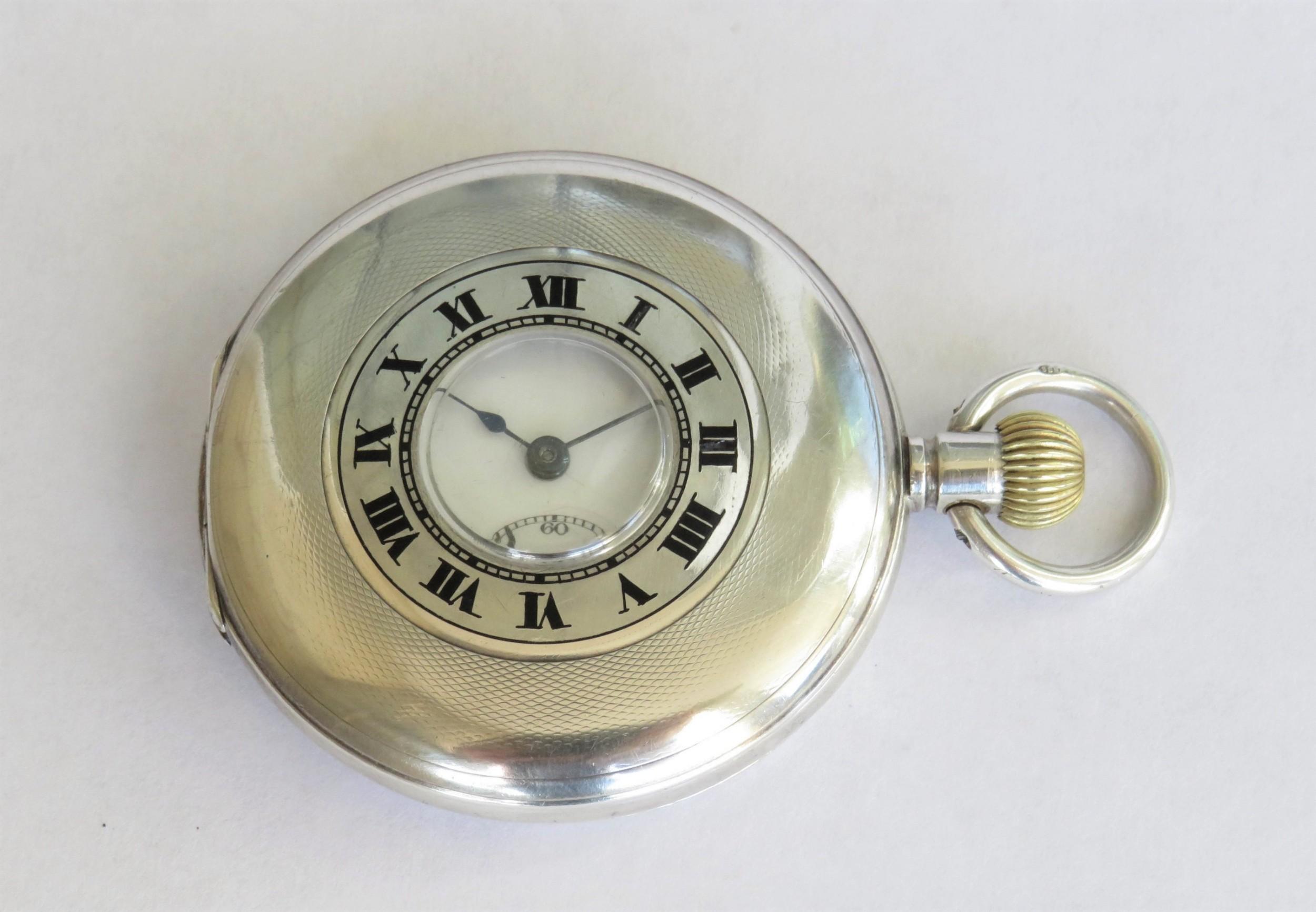 antique silver cyma half hunter pocket watch