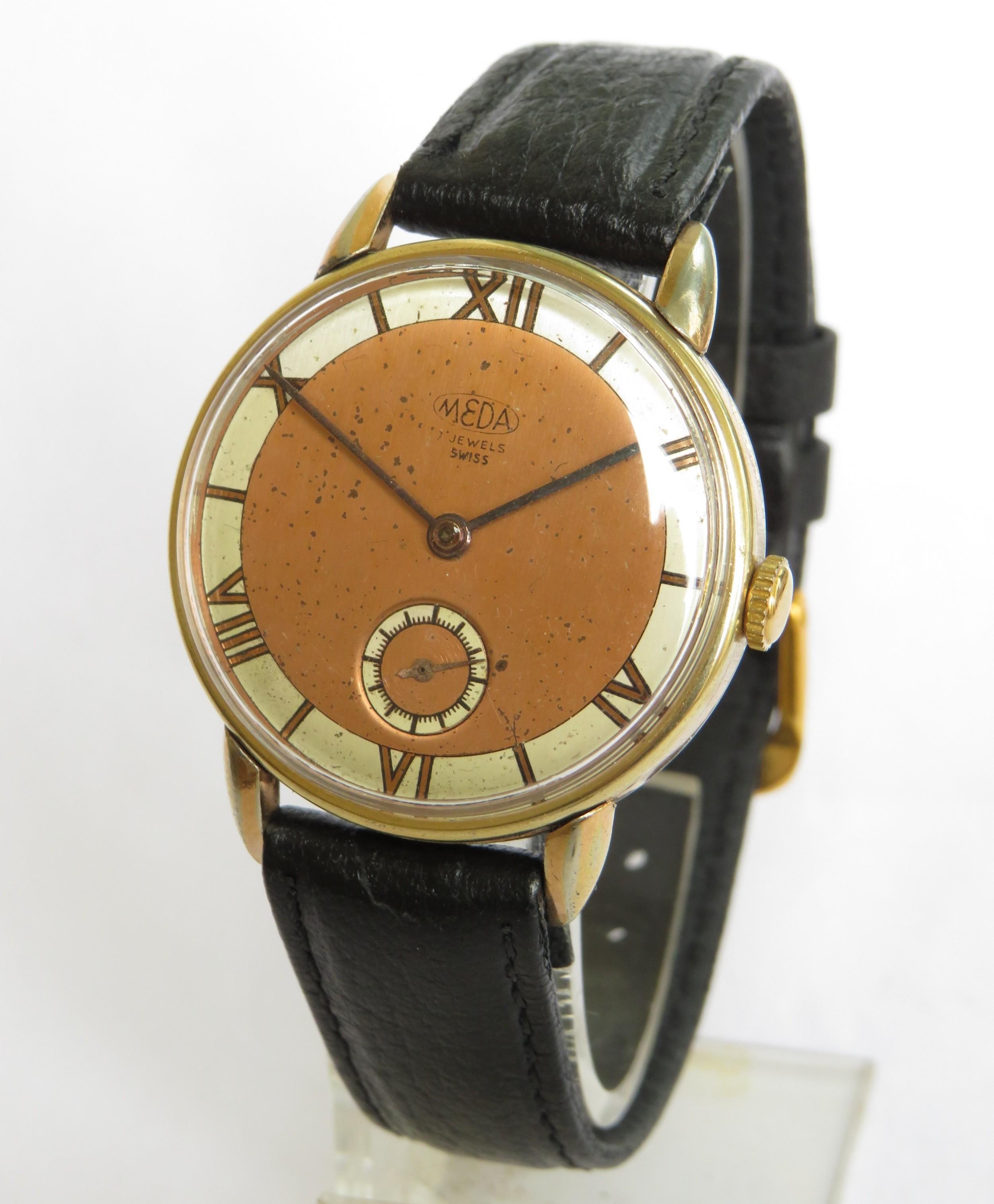gents 1950s meda wrist watch