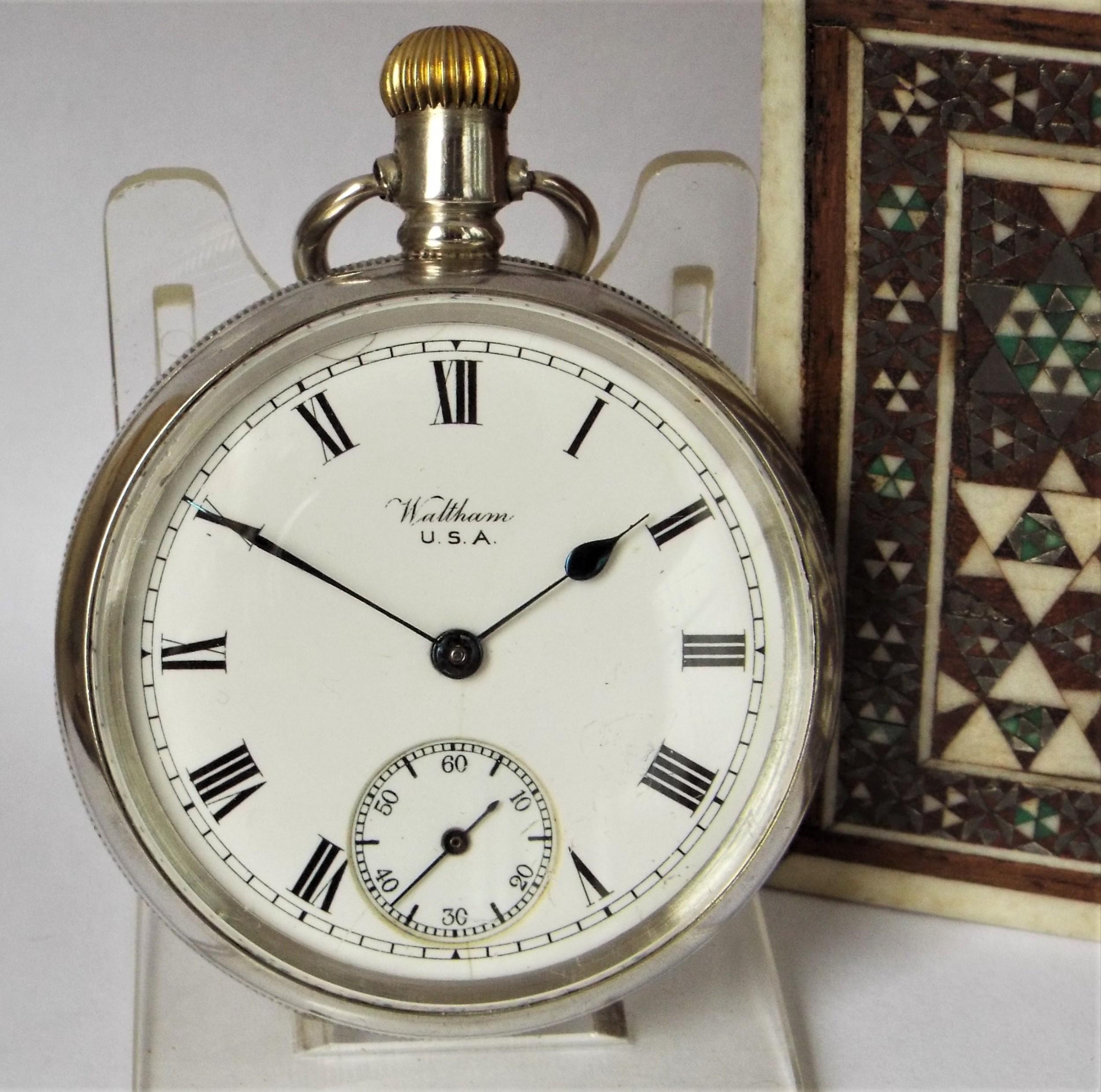 antique silver waltham bond street pocket watch