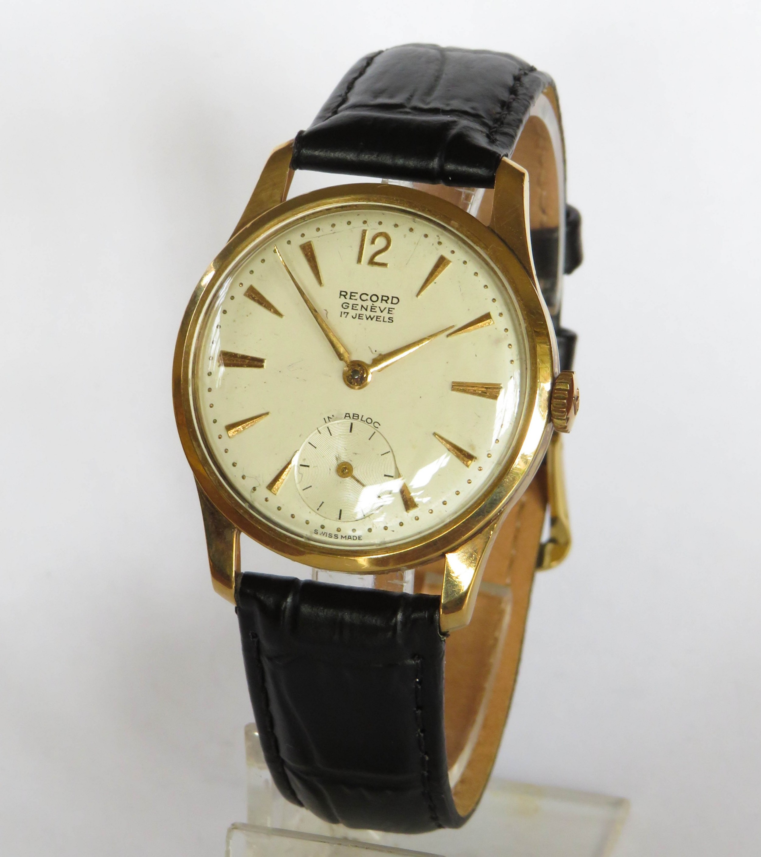 gents 9ct gold record wrist watch 1960