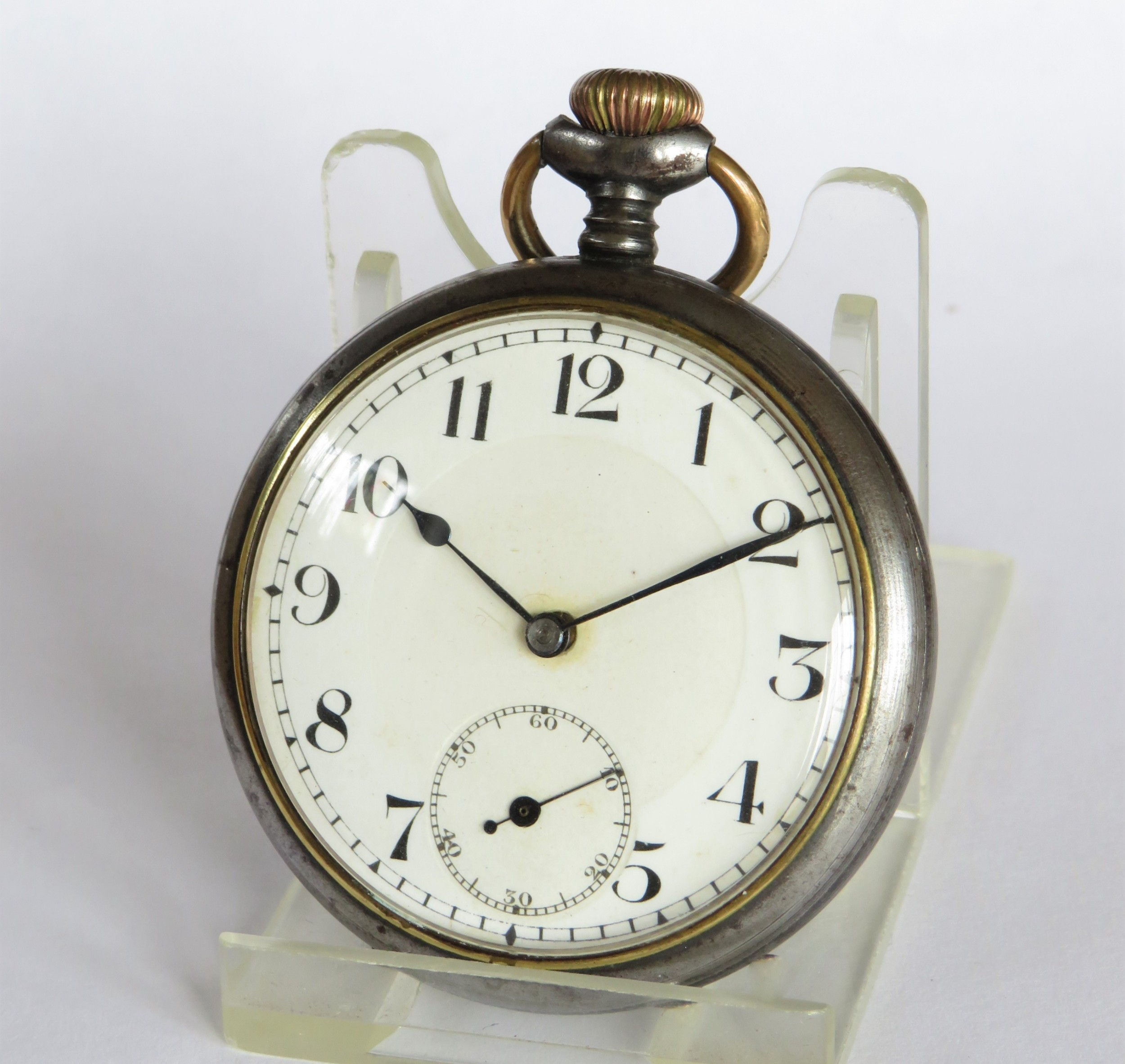 1940s gun metal pocket watch by rotherham sons