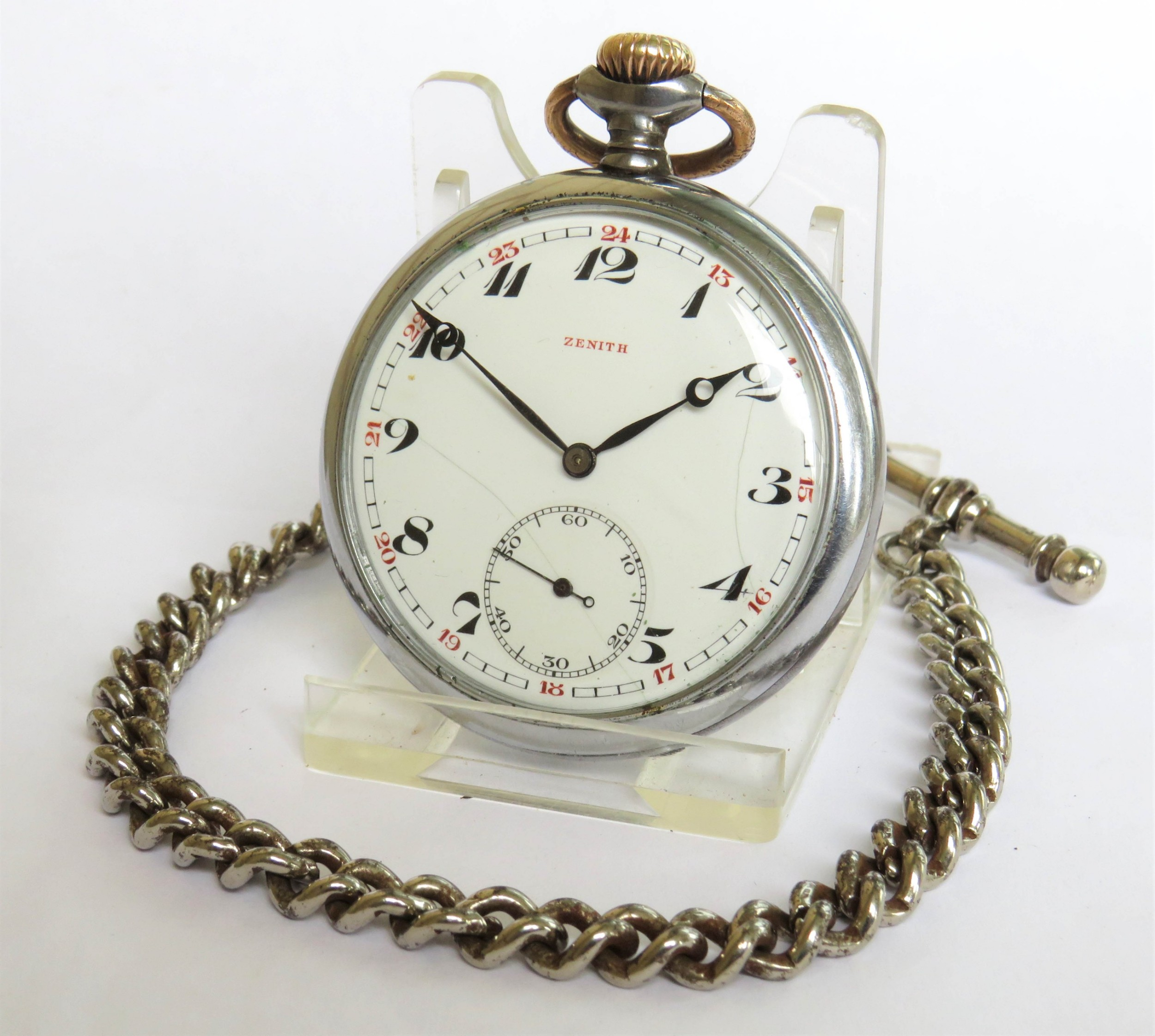 antique zenith pocket watch and chain