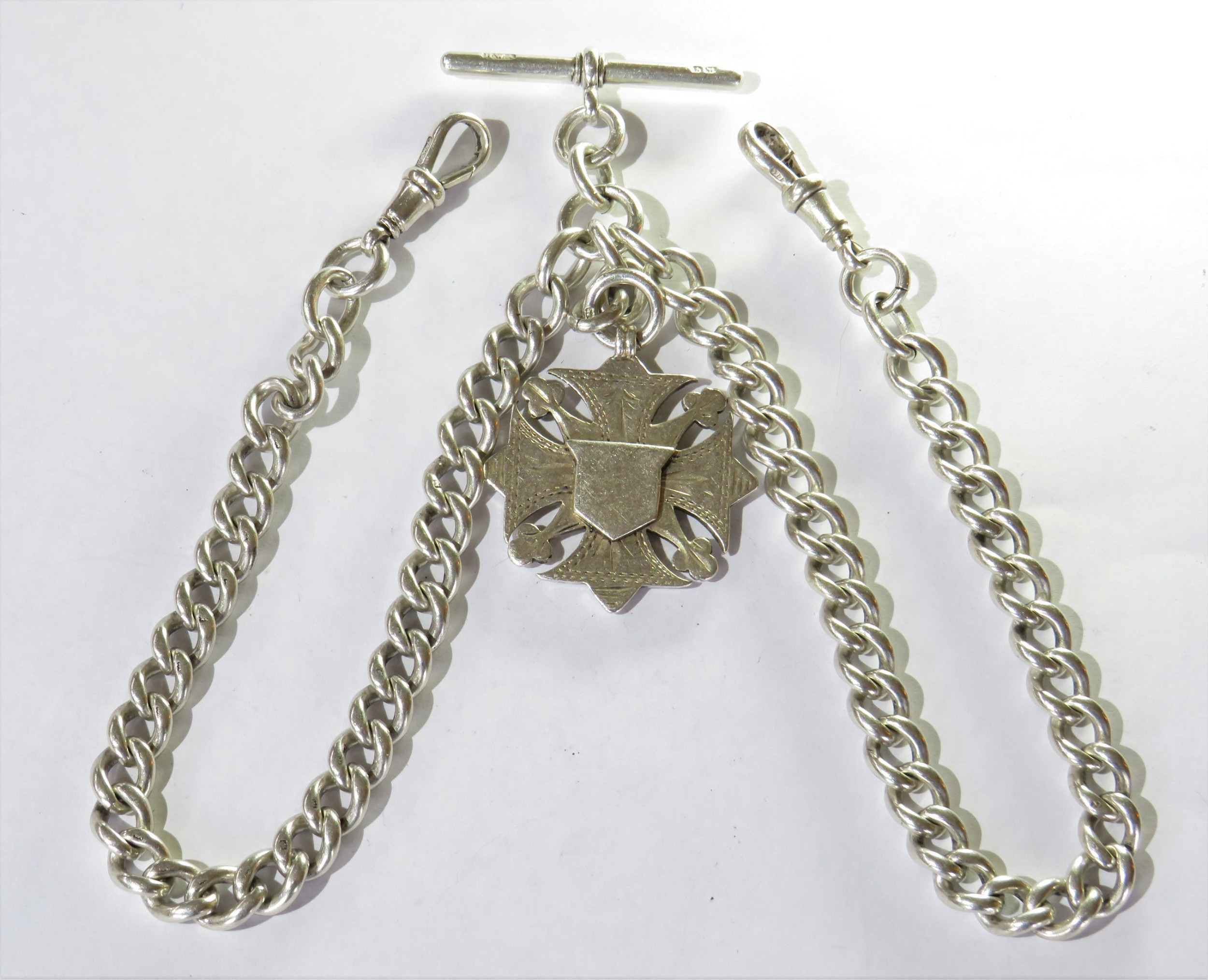 antique silver double watch albert and fob