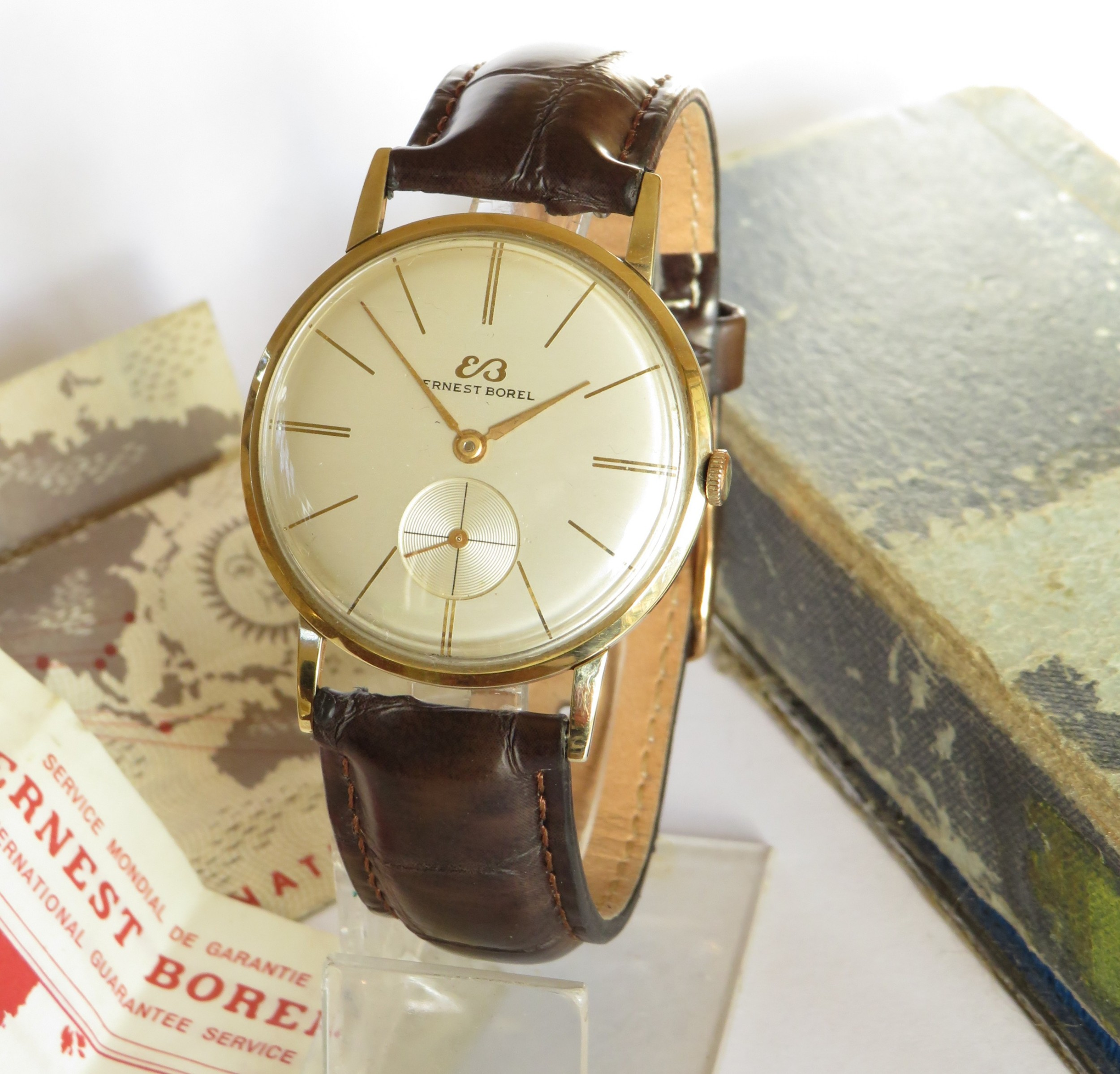 gents 9ct gold ernest borel watch with box and papers