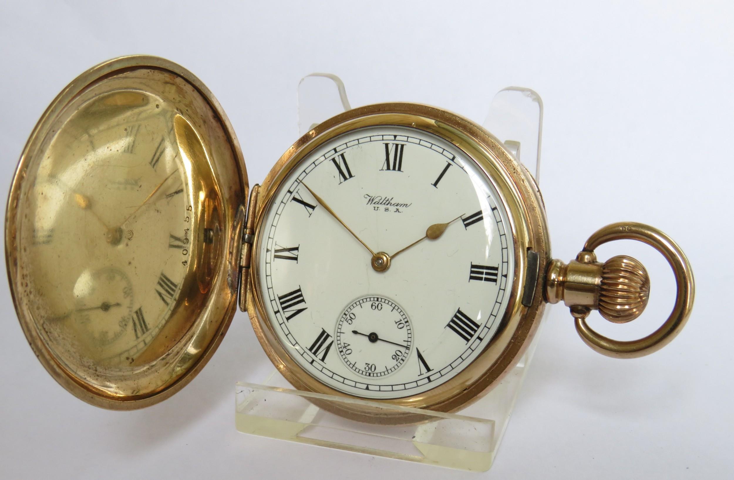 antique waltham p s bartlett full hunter pocket watch 1919