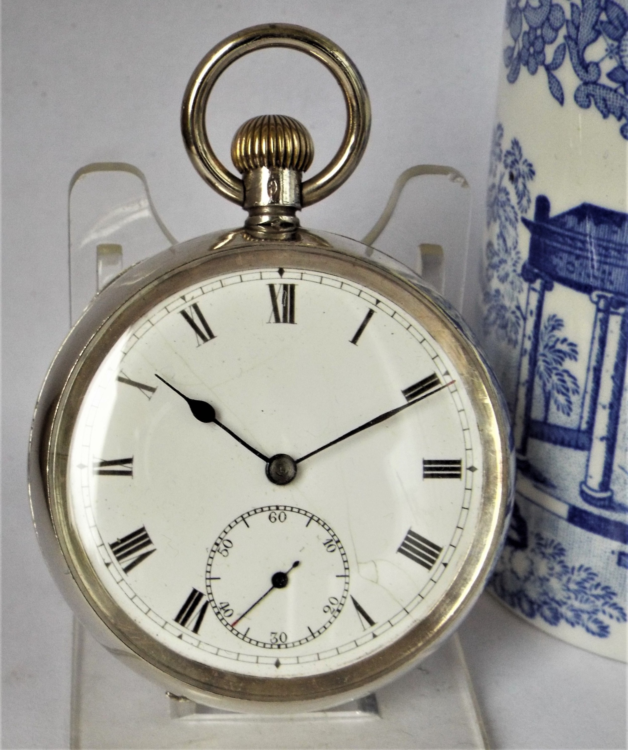 antique silver stem winding pocket watch 1919