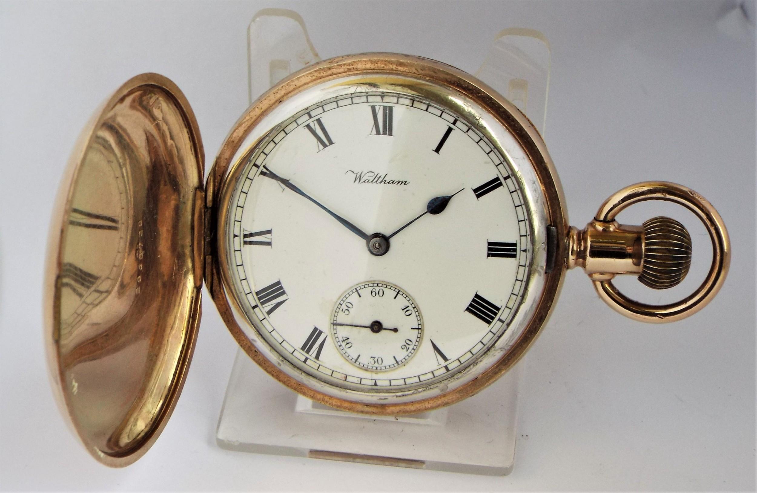 antique waltham full hunter pocket watch 1913