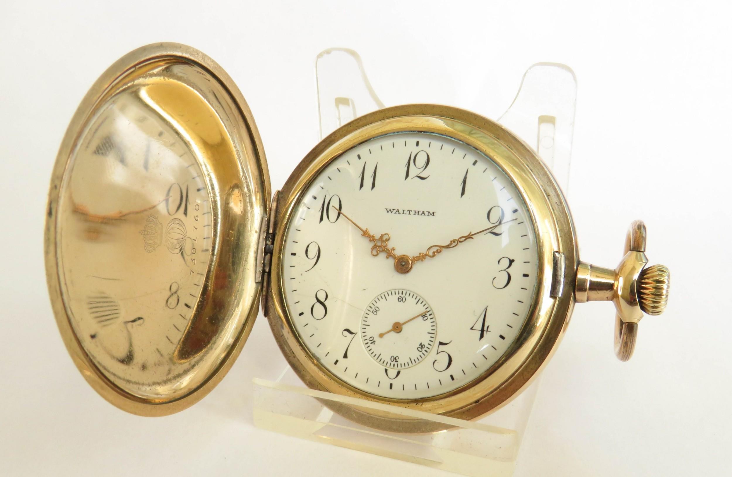 antique waltham full hunter pocket watch 1908