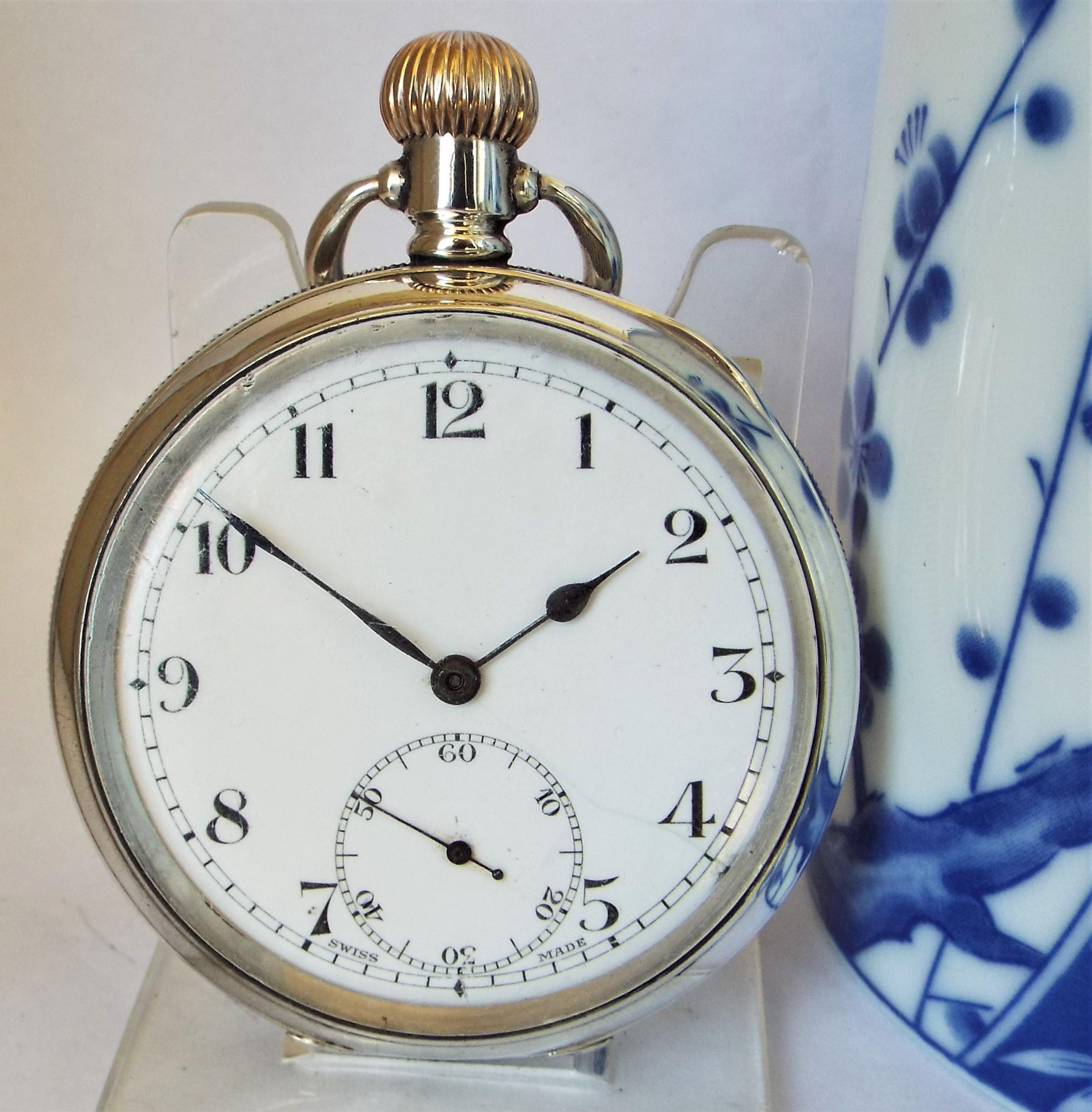 1938 silver revue pocket watch