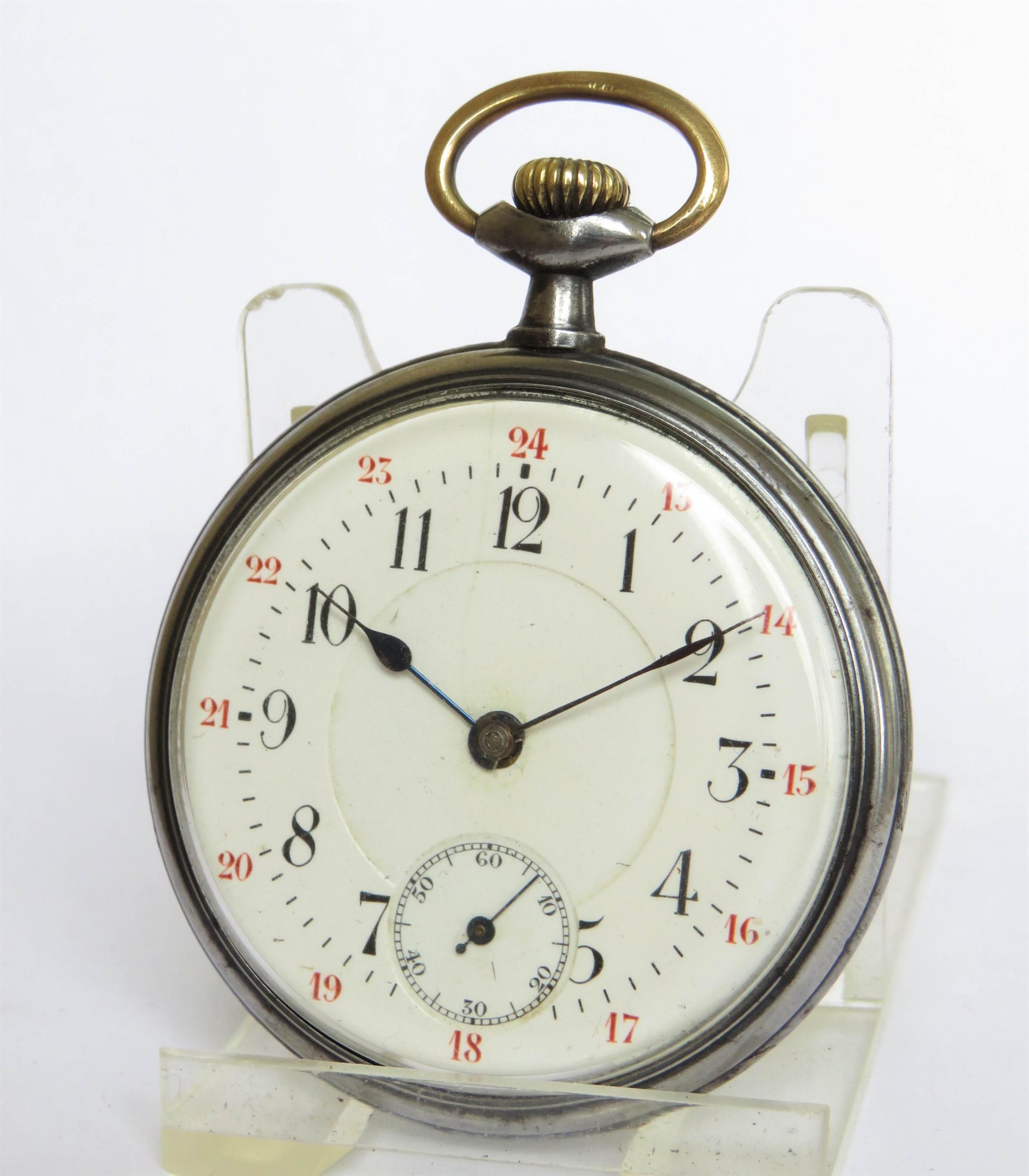 antique gun metal pocket watch