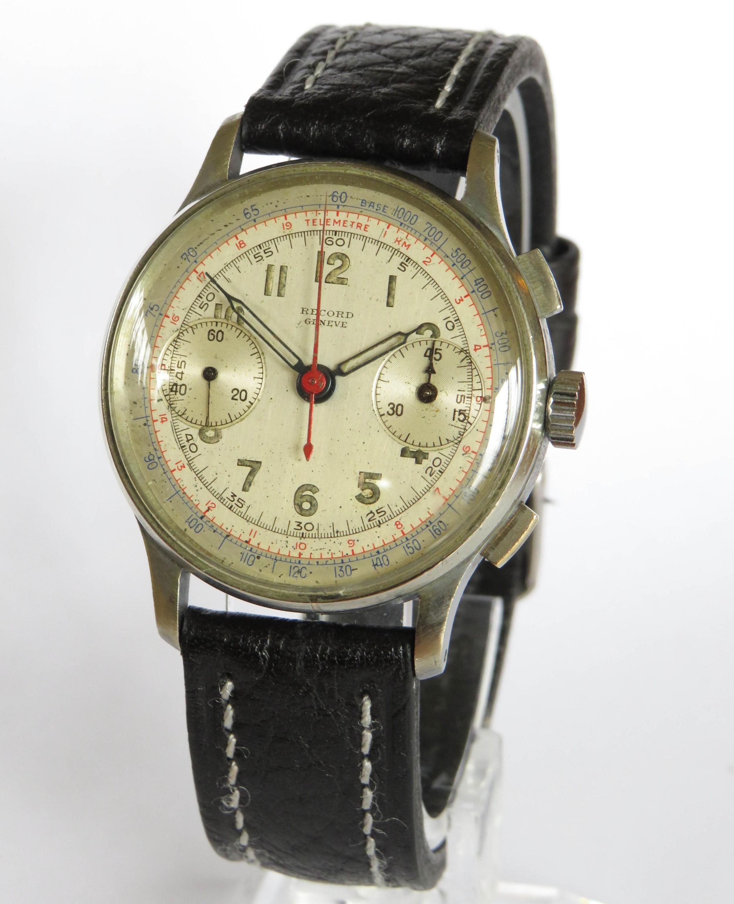 gents 1940s record chronograph wrist watch