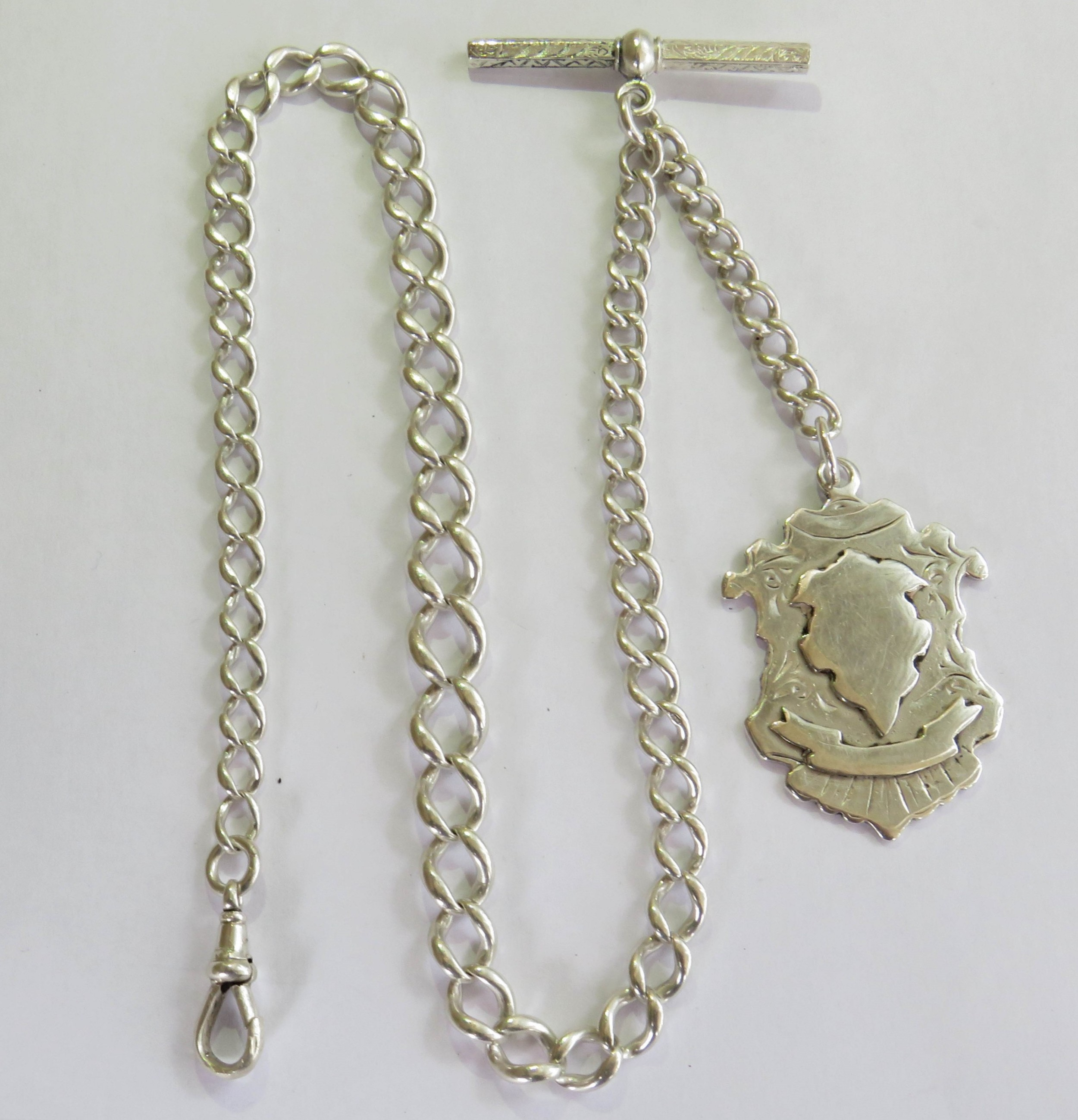 antique single silver watch albert and fob