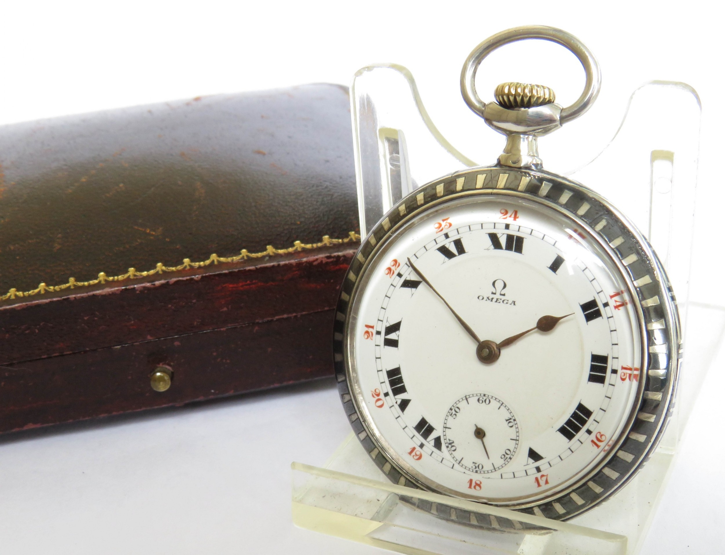 antique omega niello cased pocket watch