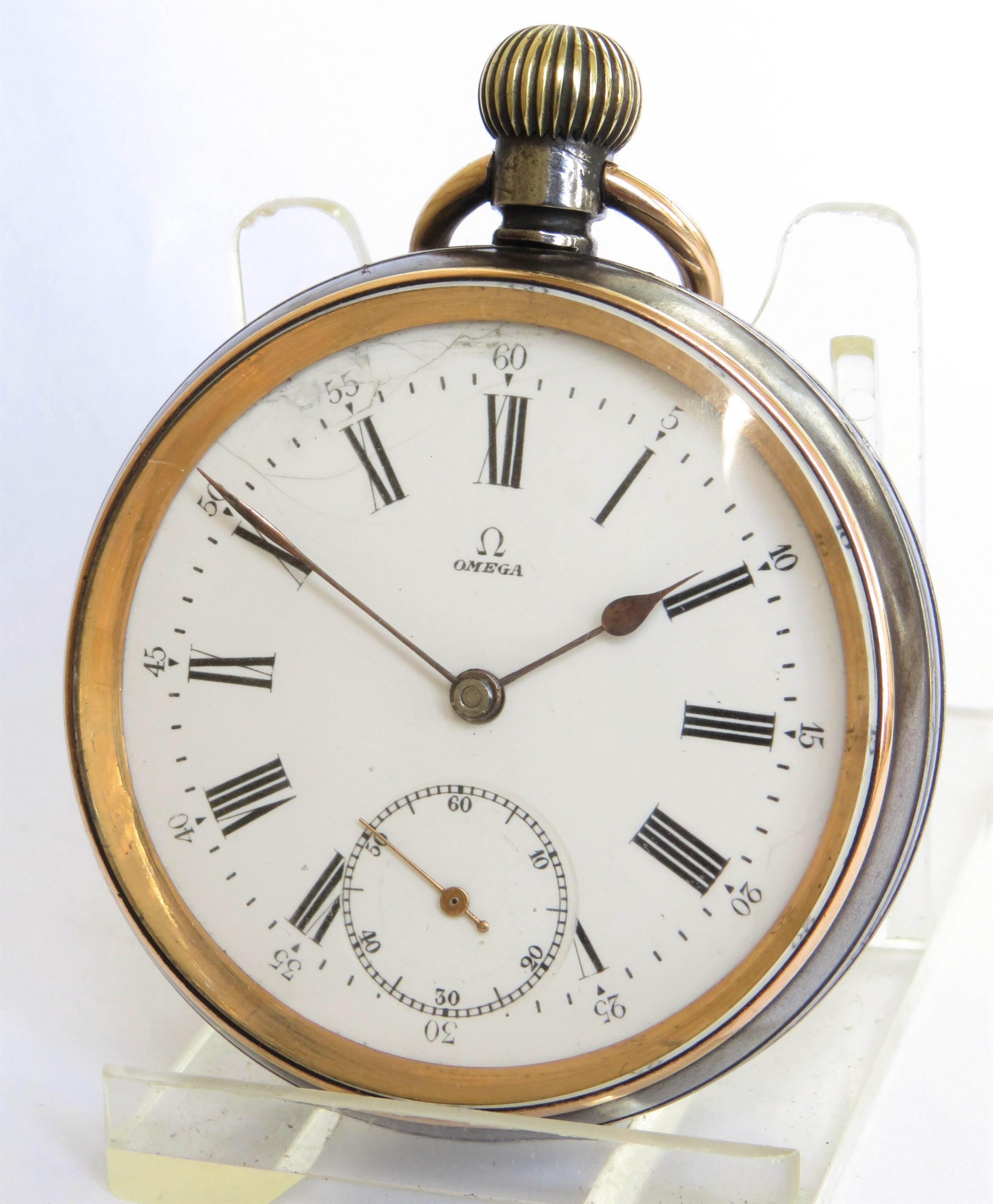 antique omega gun metal pocket watch