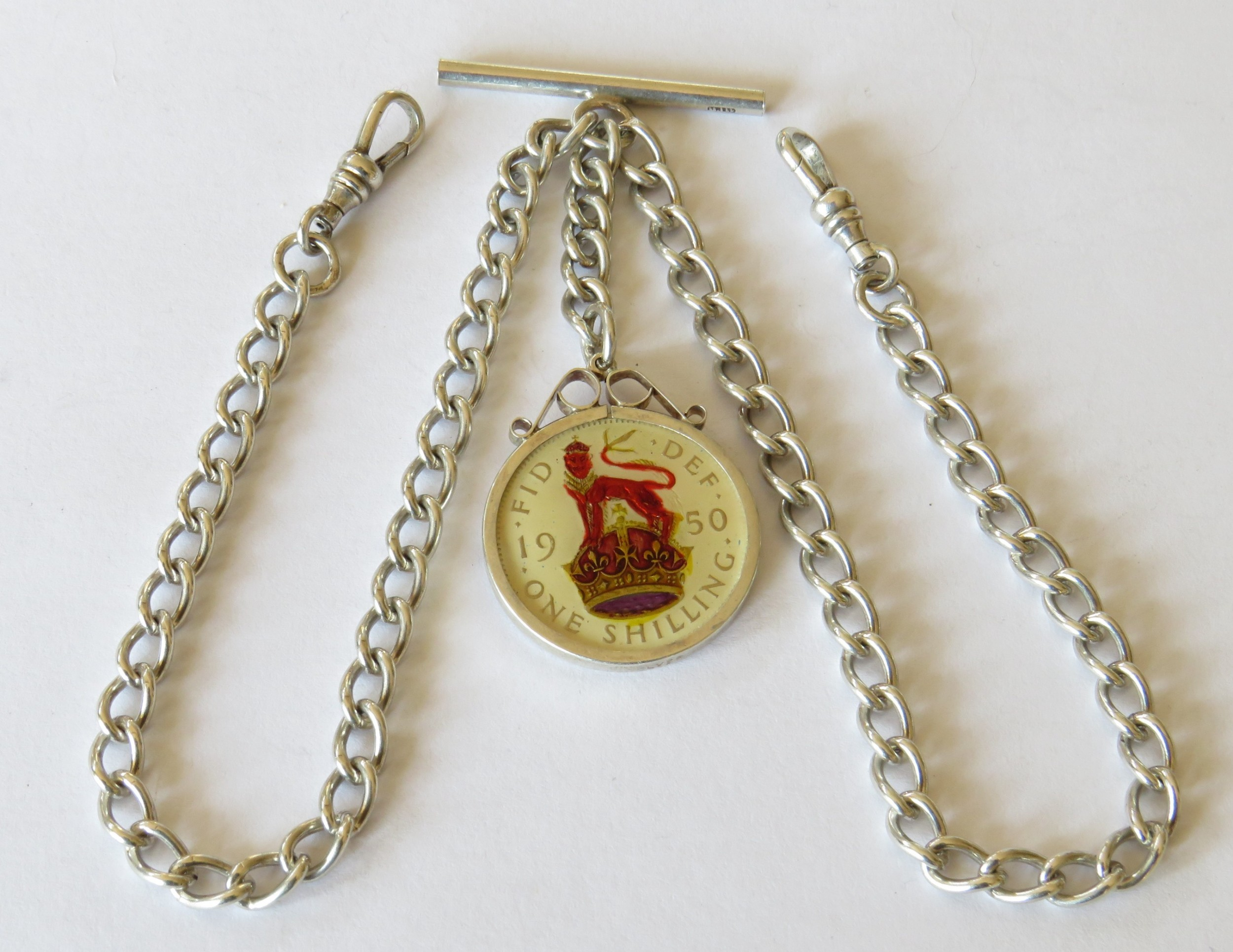 1920s silver double pocket watch chain