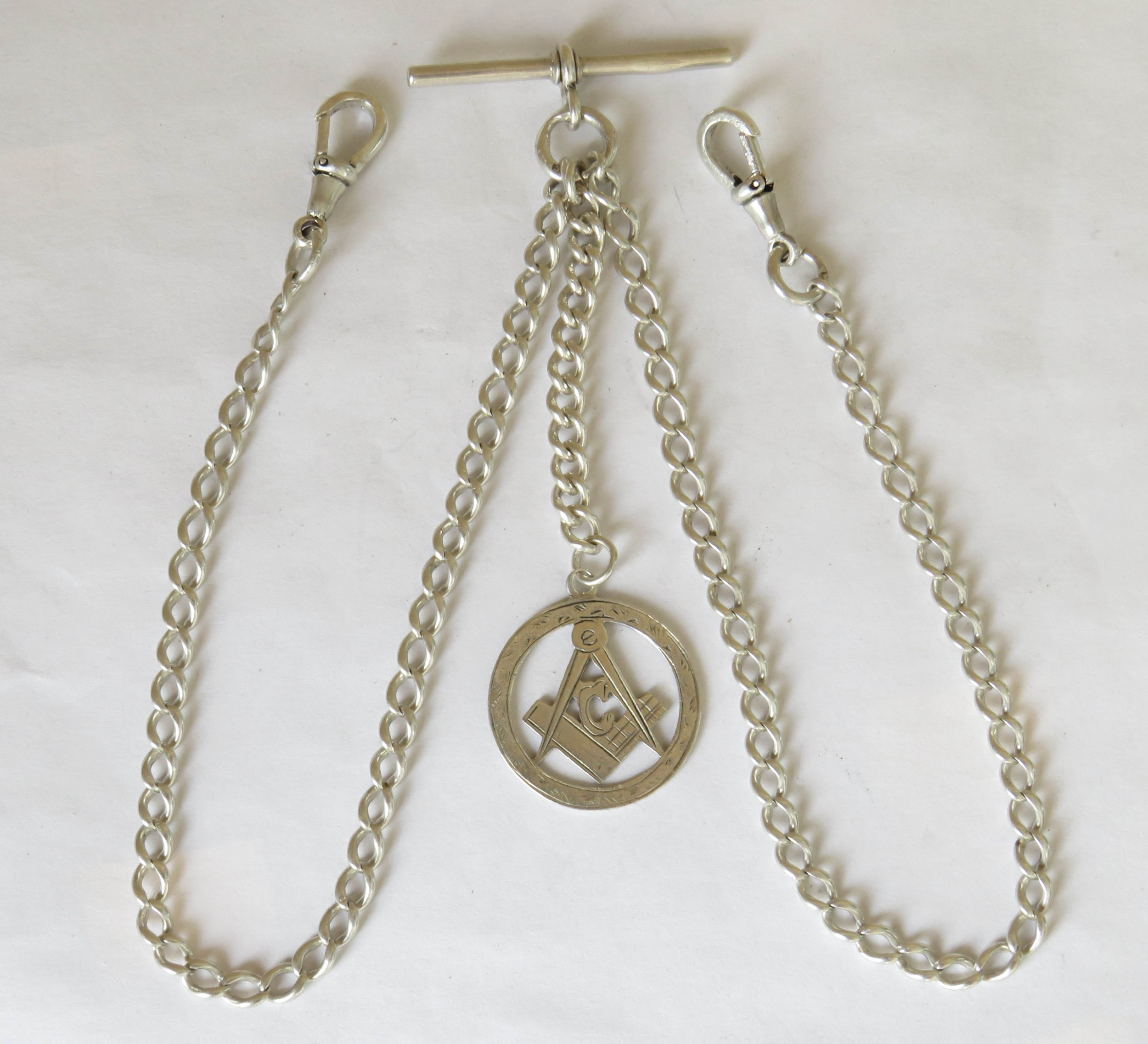 antique silver double albert with masonic fob