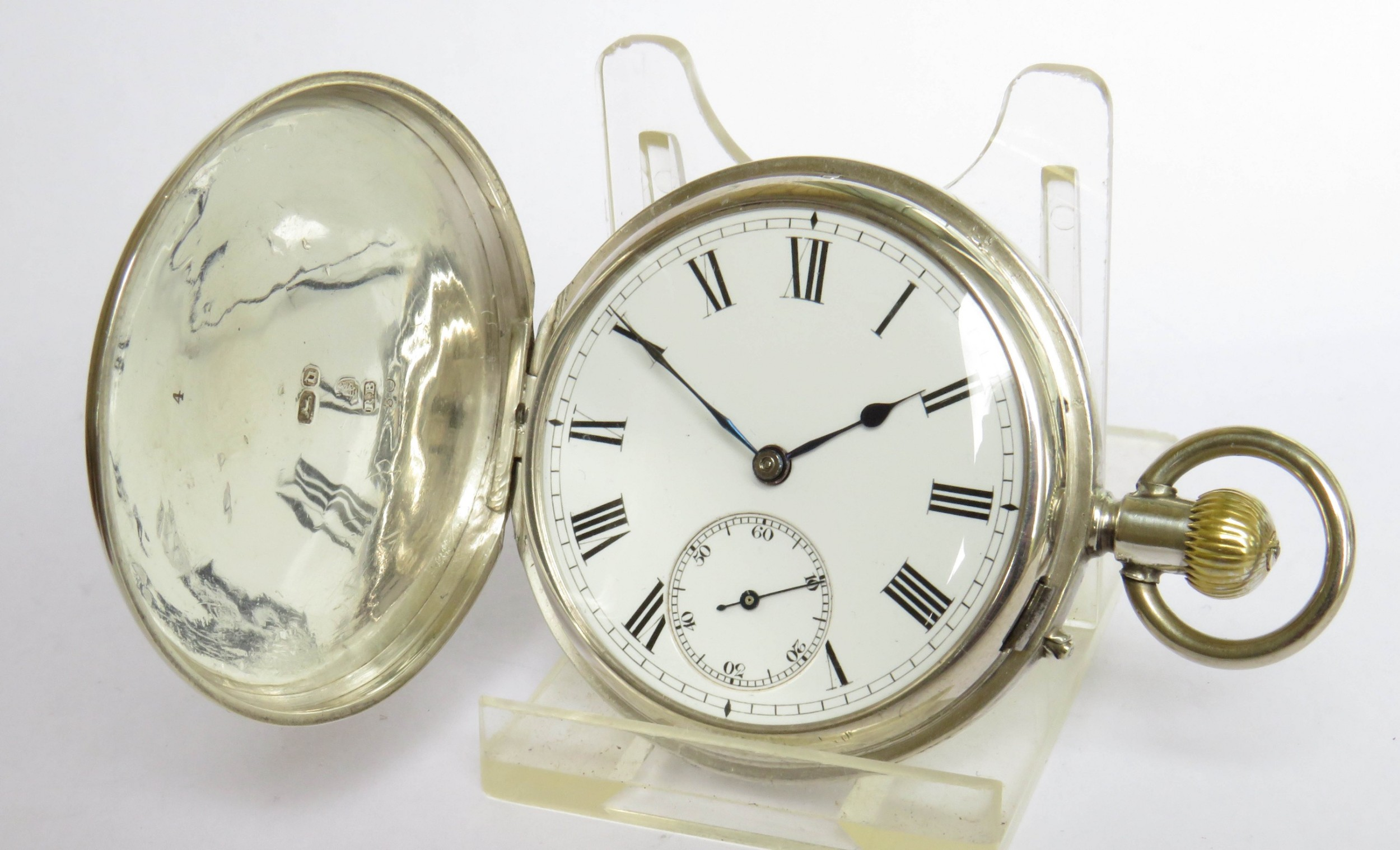 antique silver english watch co full hunter pocket watch