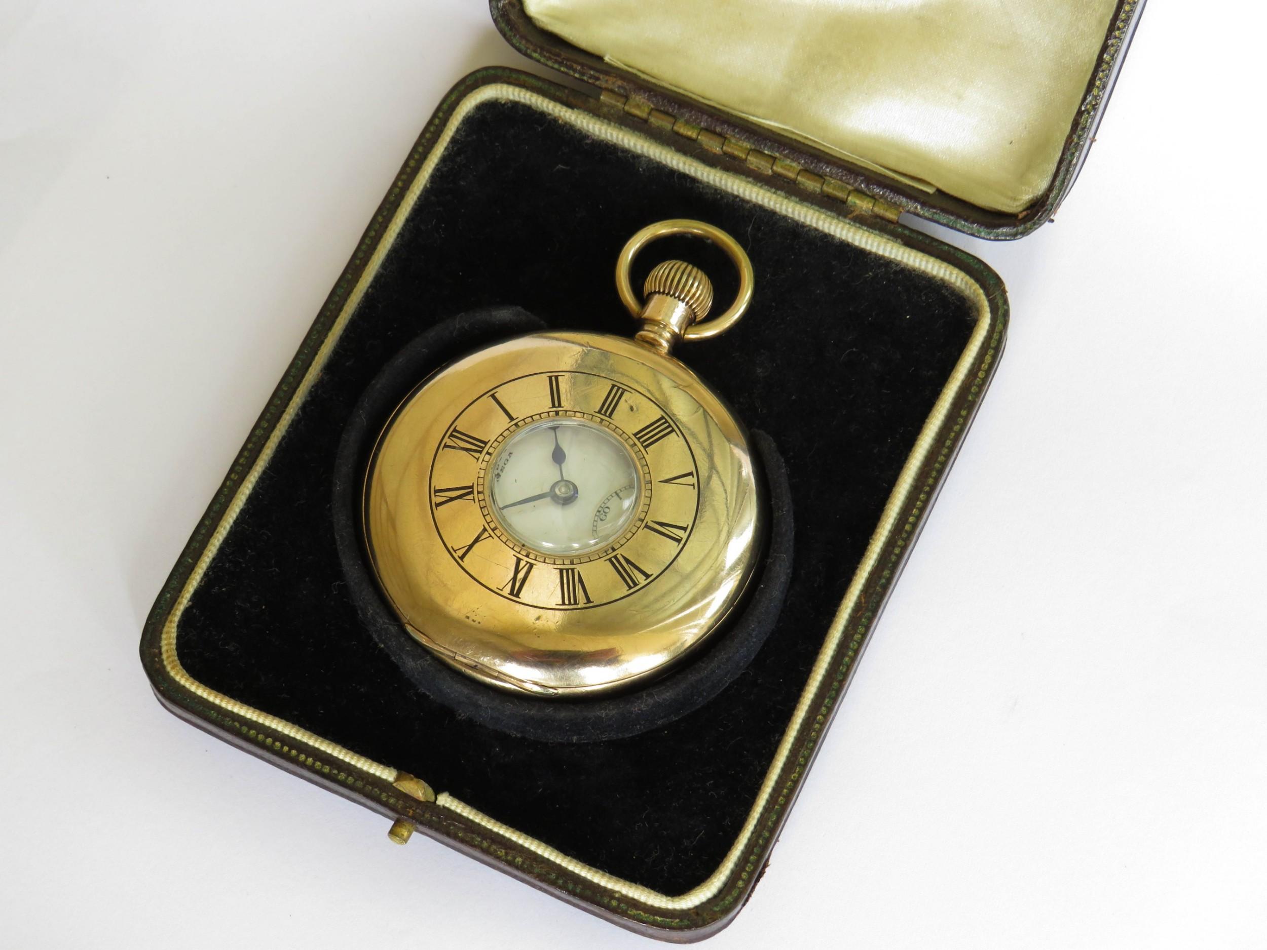 antique omega half hunter pocket watch