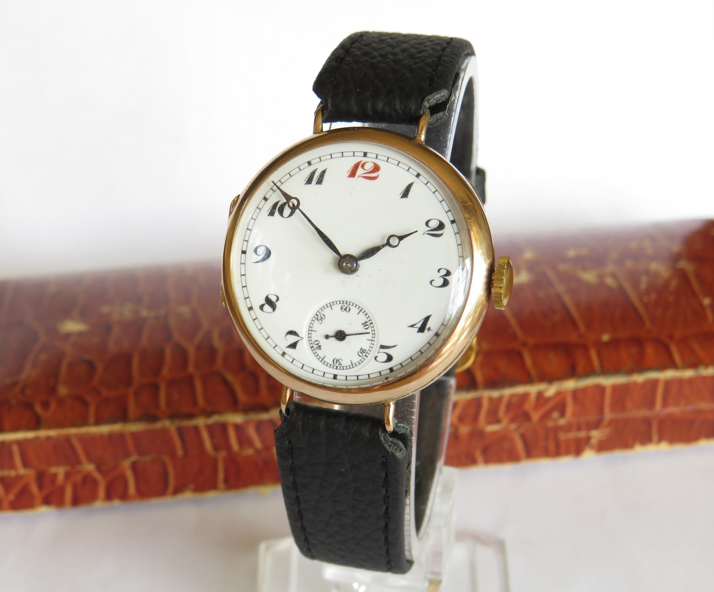 antique 9ct gold trench watch 1919