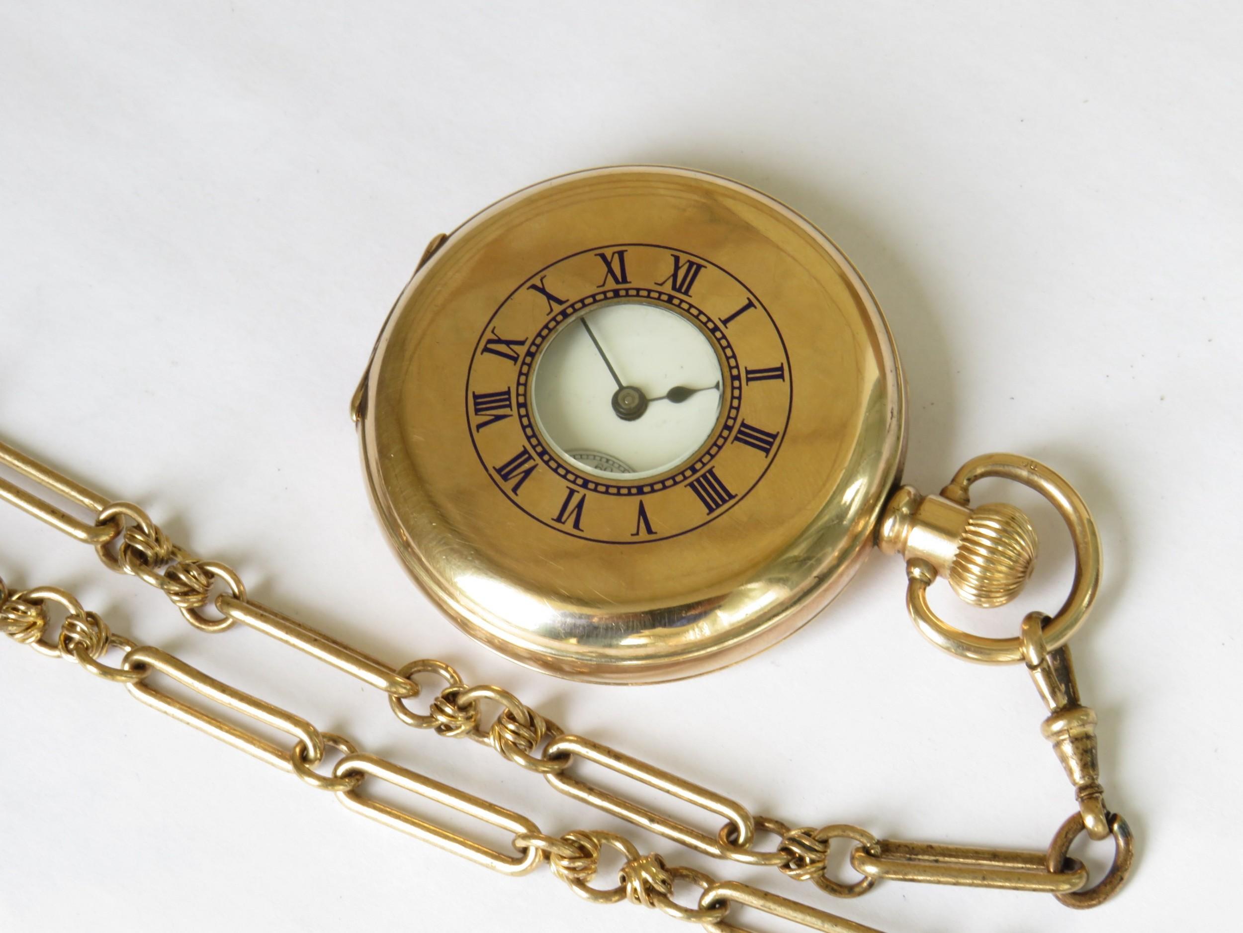 antique waltham traveler half hunter pocket watch and chain