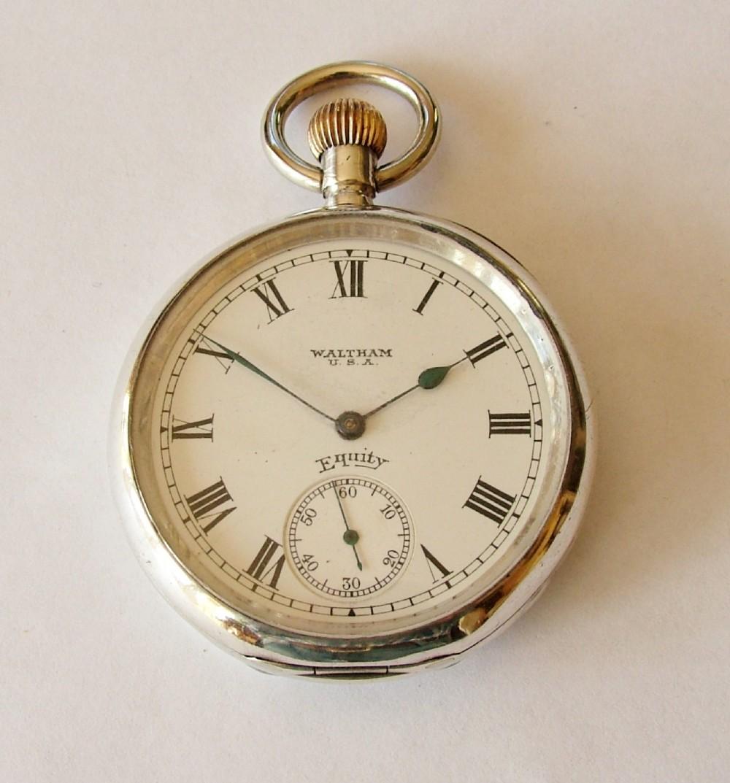 vintage 1918 silver waltham equity pocket 304139