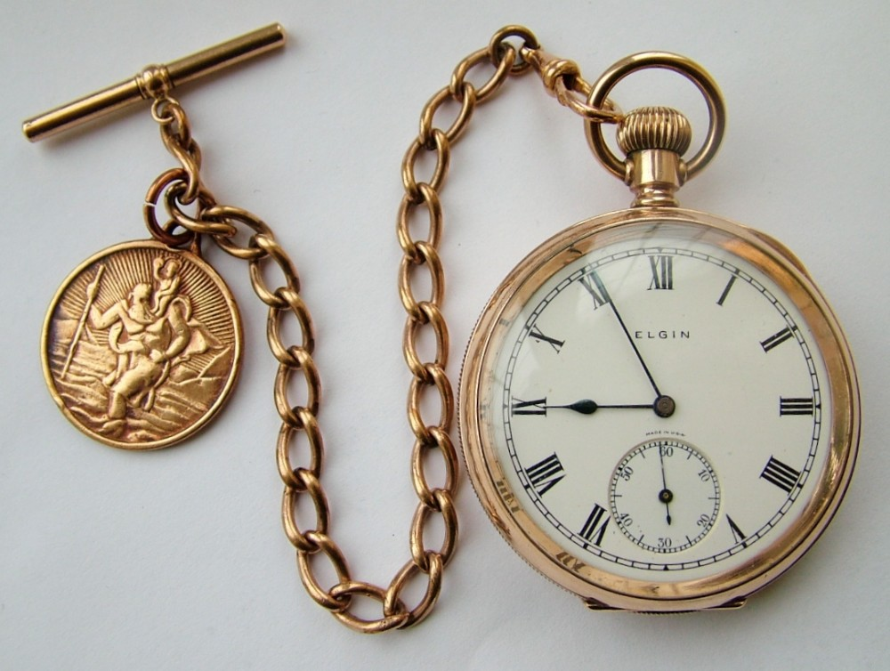 vintage 1926 elgin pocket watch with chain 304095