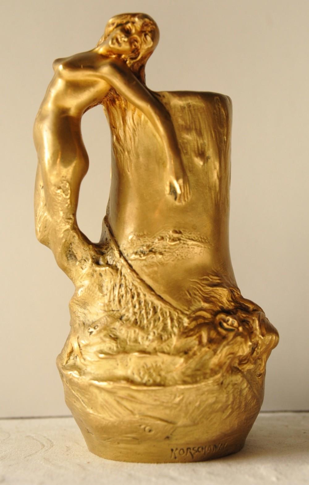 french art nouveau gilt bronze figural vase by charles korschann