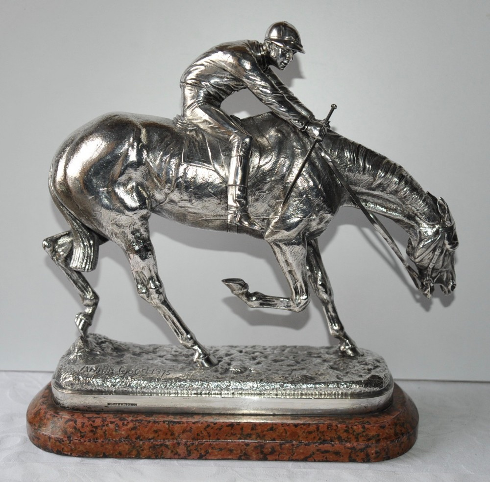 silvered bronze racehorse with jockey 'after the race' by john willis good