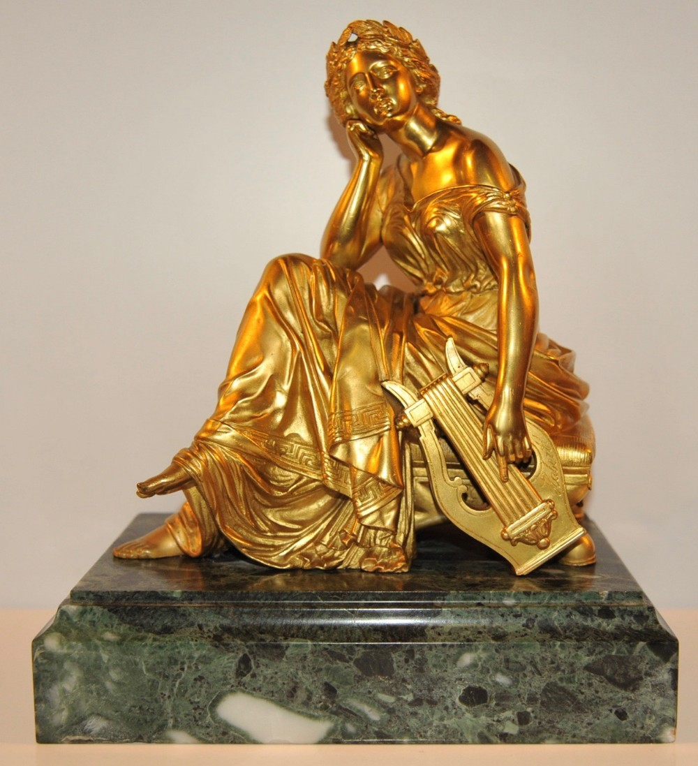 french gilt bronze muse terpsichore by alfred louis habert 19th century