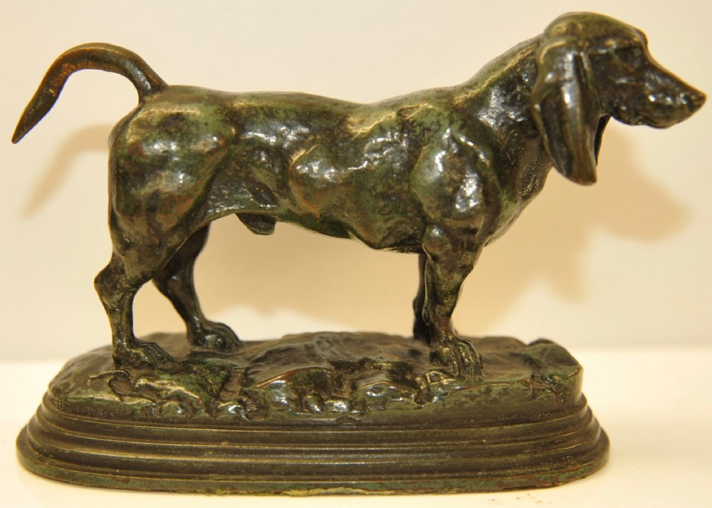 french bronze dog 'basset anglais' by barye cast by barbedienne