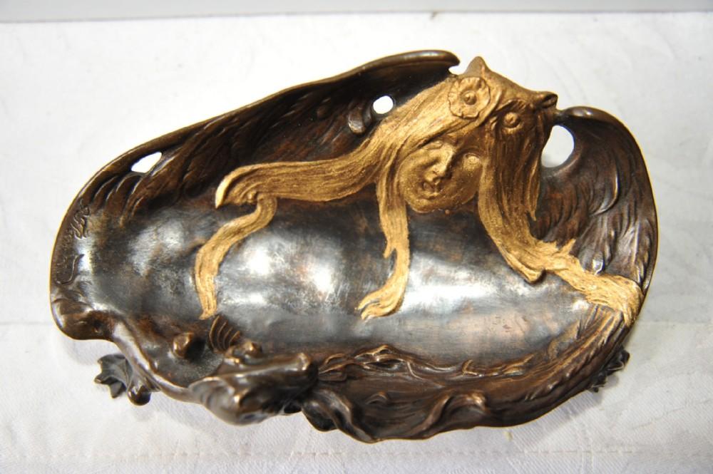 art nouveau french bronze vide poche by georges flamand c1900