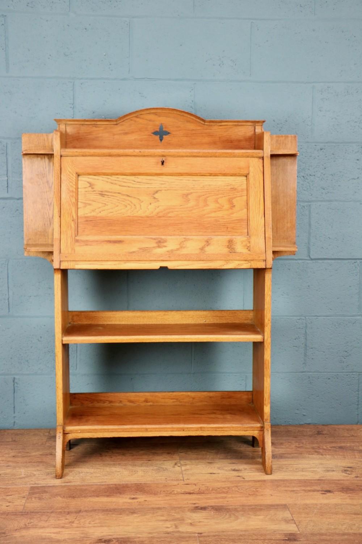 arts and crafts oak bureau bookcase
