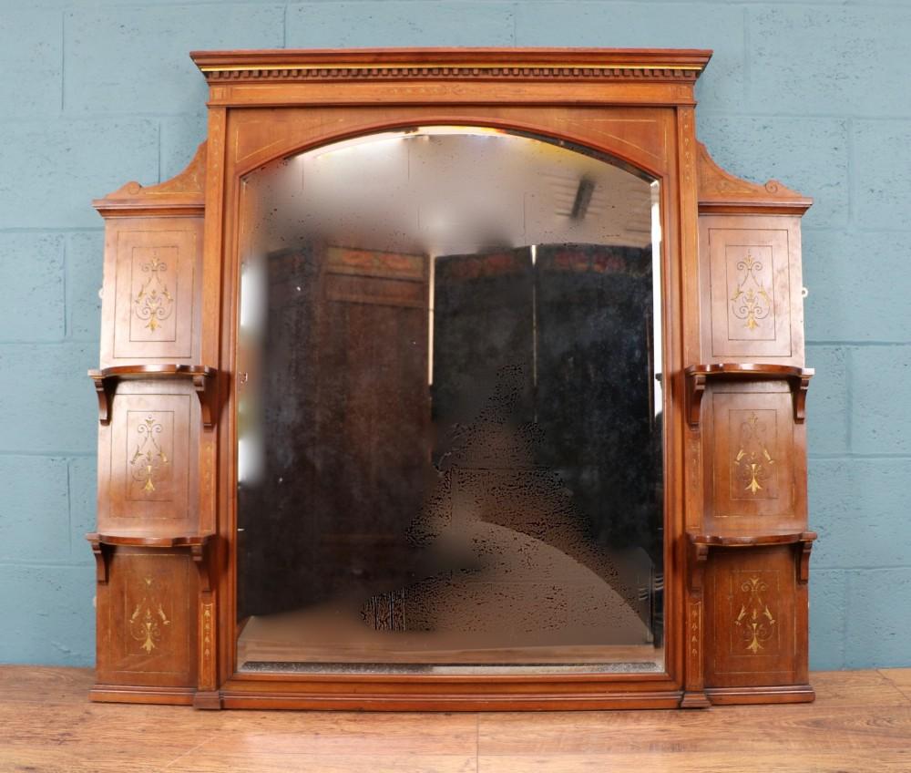 aesthetic movement oak overmantle mirror