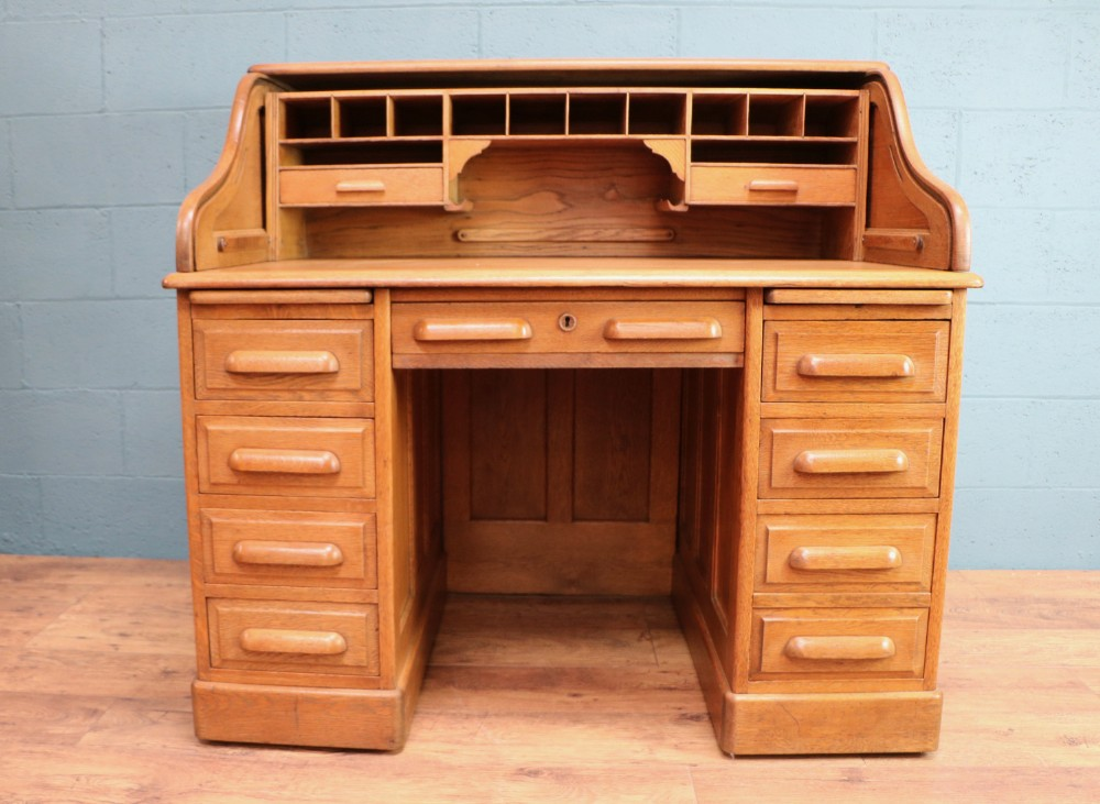 edwardian oak rolltop pedestal desk