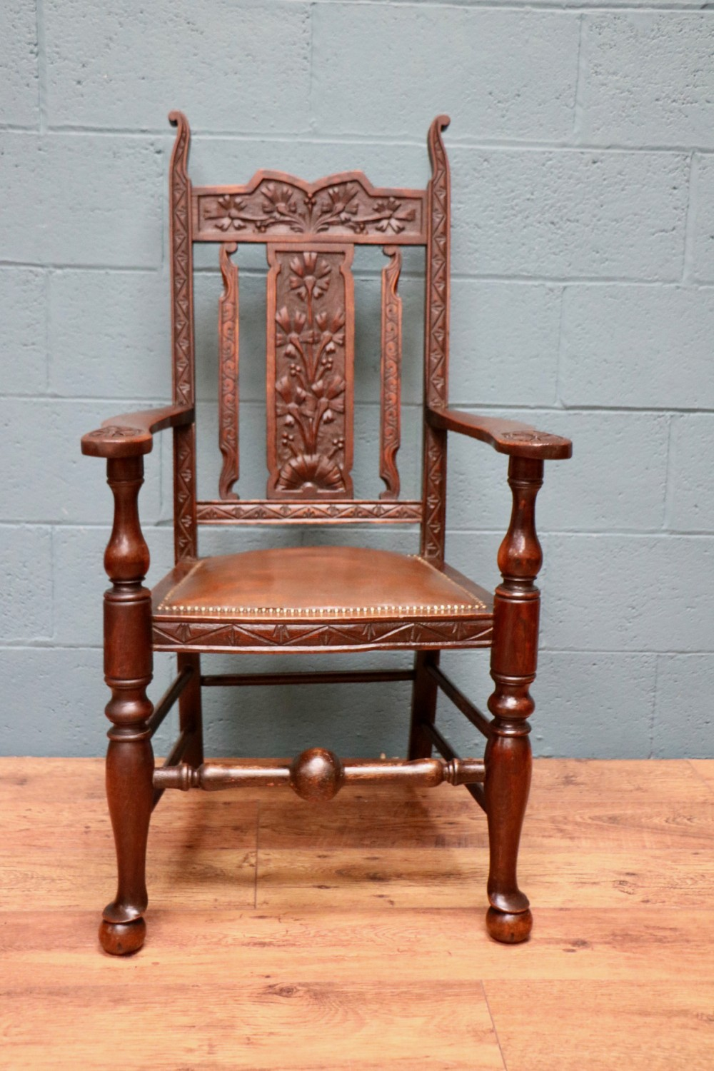 carved fruitwood armchair