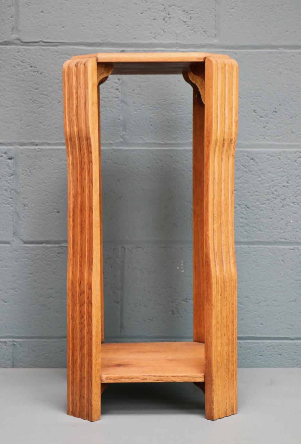 art deco oak plant stand