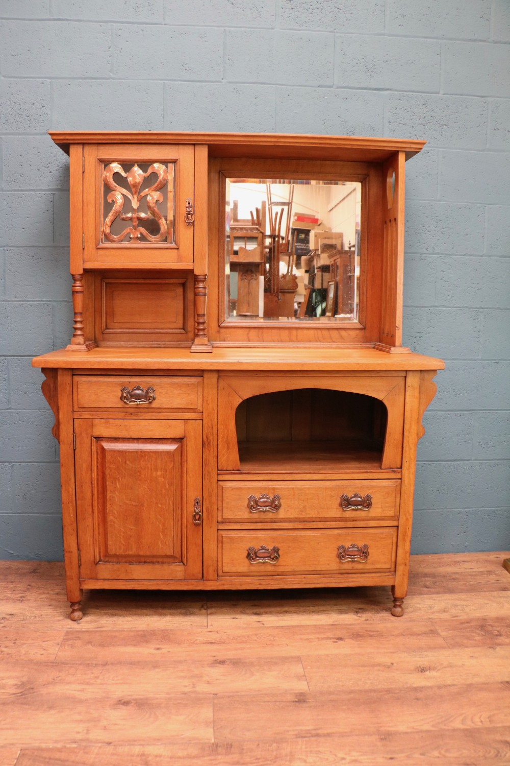 arts and crafts oak sideboard with copper detail