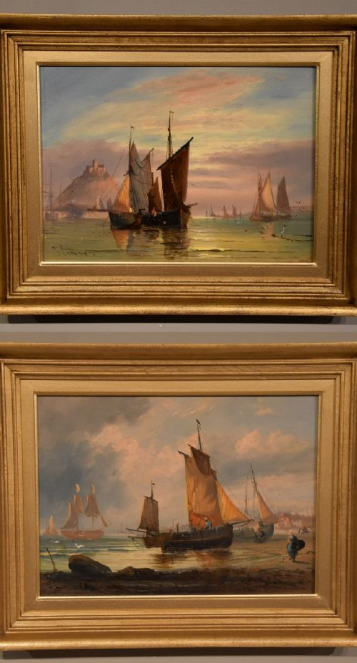 oil painting pair by george dodgson callow a calm mounts bay and on the south coast