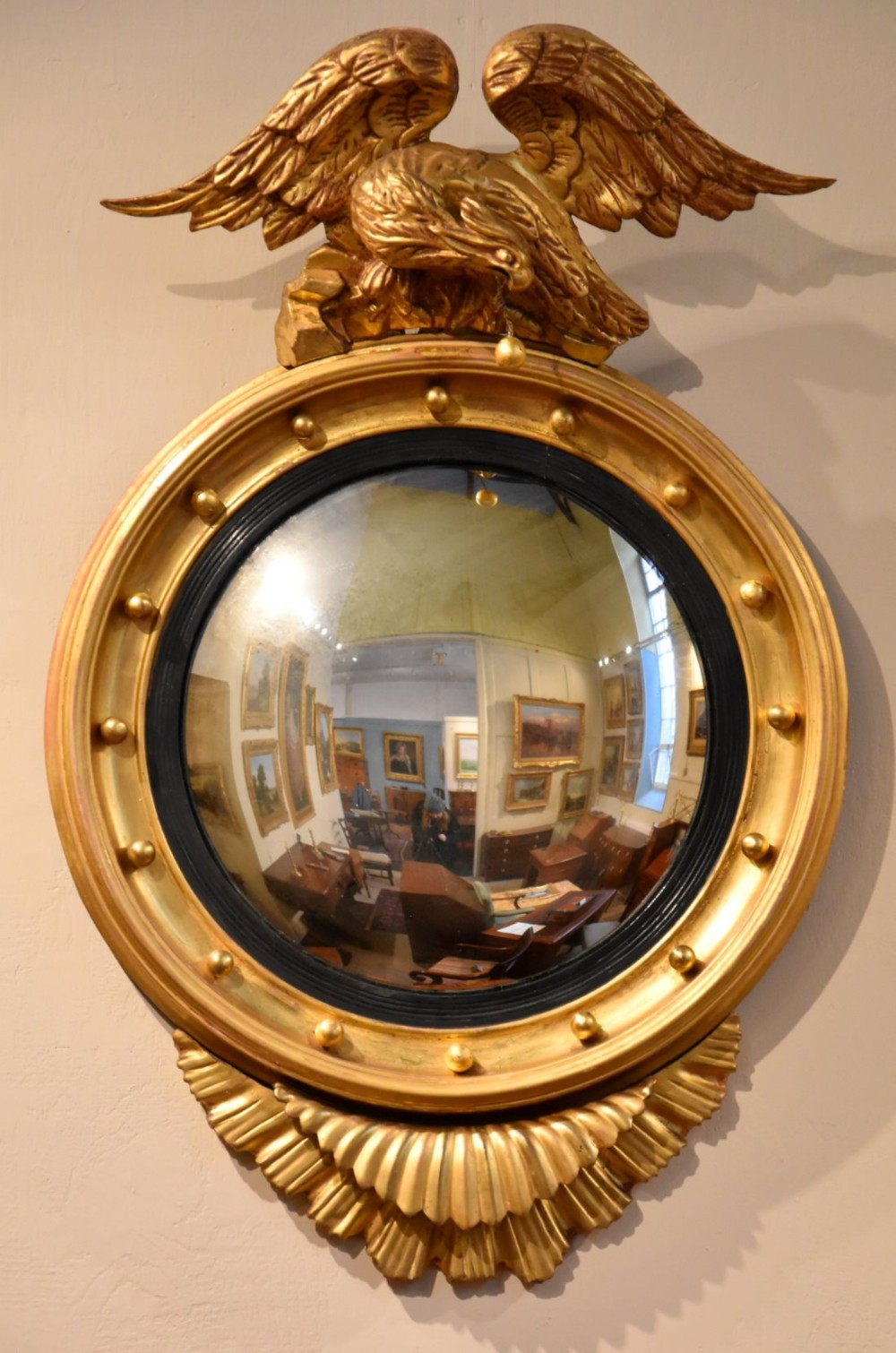 Eagle Crested Convex Mirror 455531 Sellingantiques Co Uk