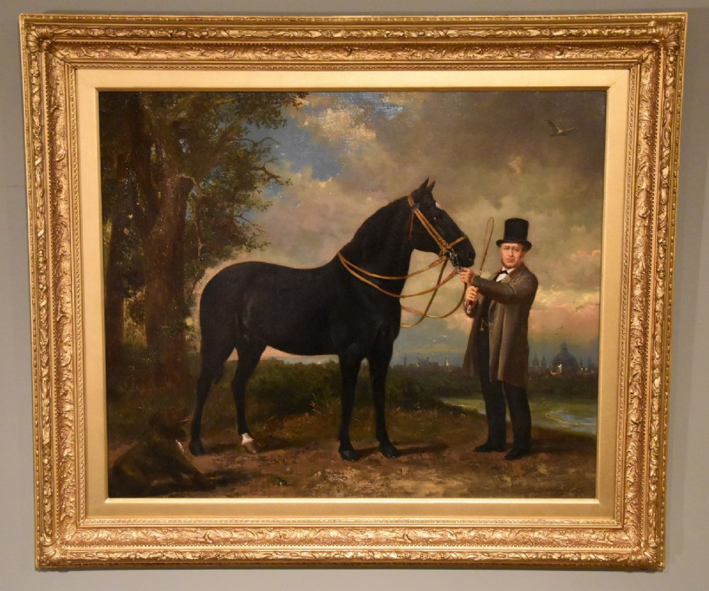 gentleman with horse and hound oil by frederick philips