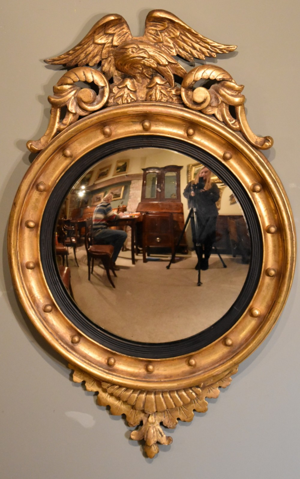 late 19th century giltwood convex and eagle mirror
