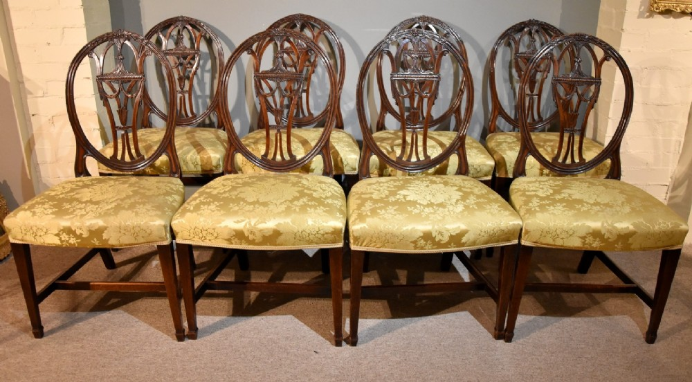 a very fine set of eight late 18th century hepplewhite dining chairs