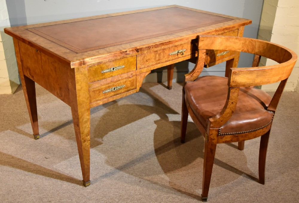 a fine quality french burr elm desk and chair
