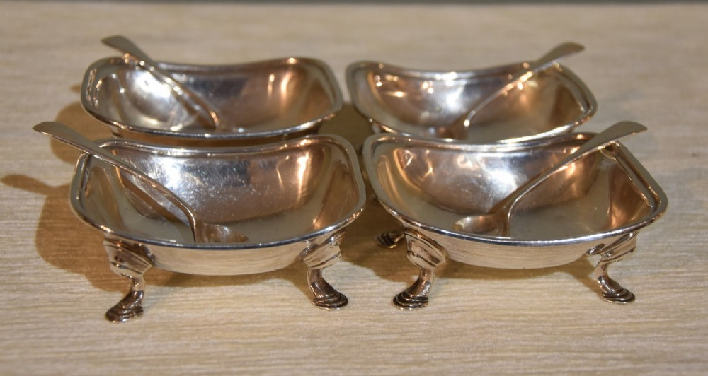 set of four georgian silver salt dishes
