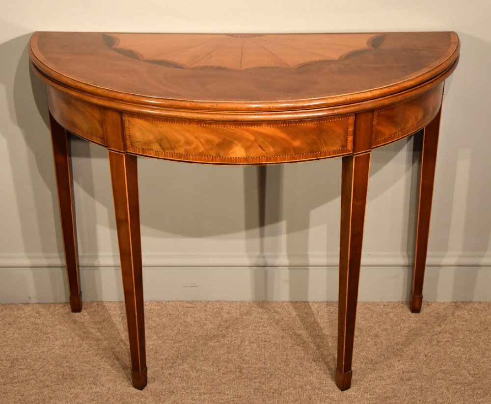 a superb george iii inlaid demi lune card table